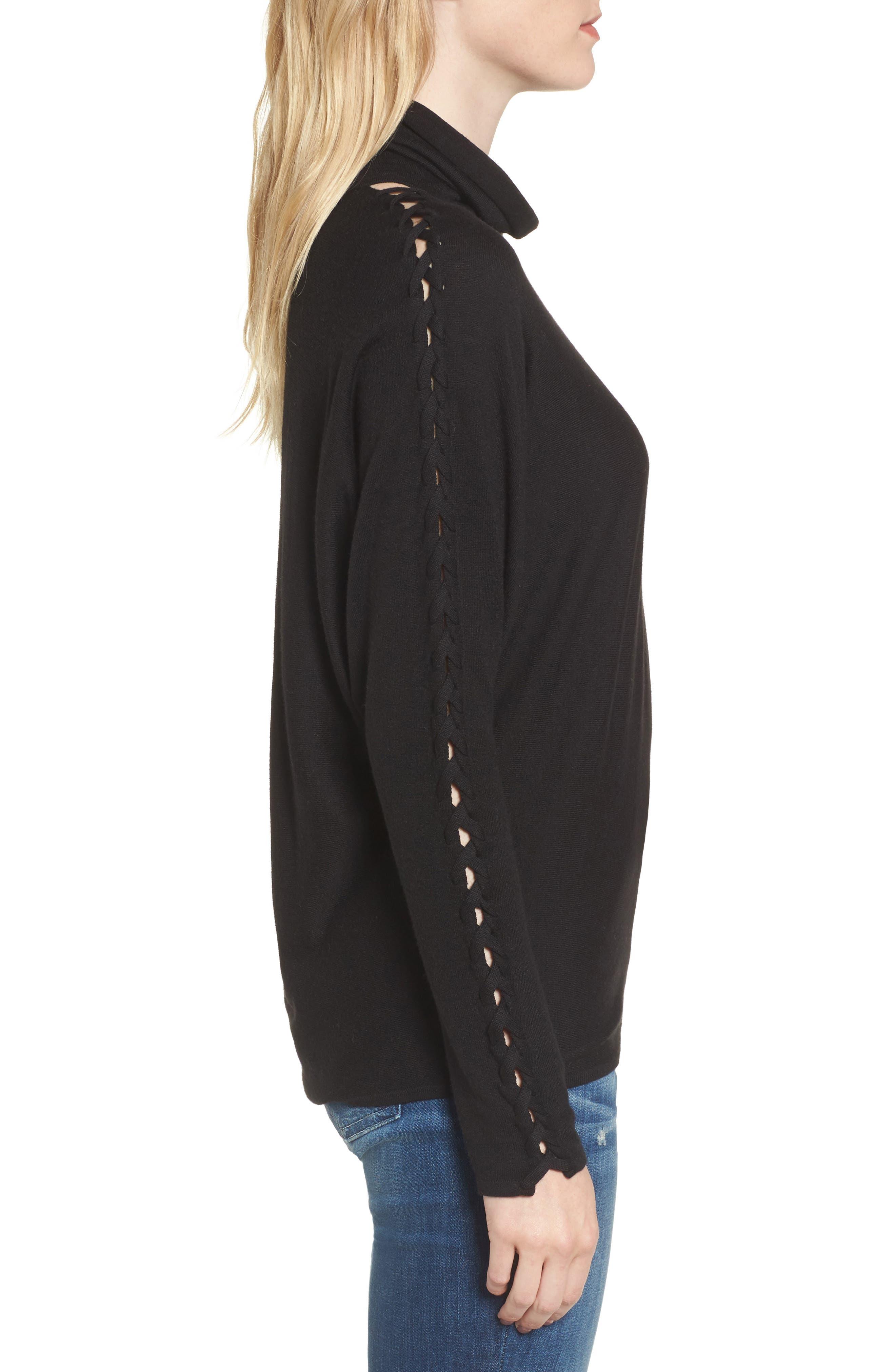 Victoire Turtleneck Sweater,                             Alternate thumbnail 3, color,                             Black