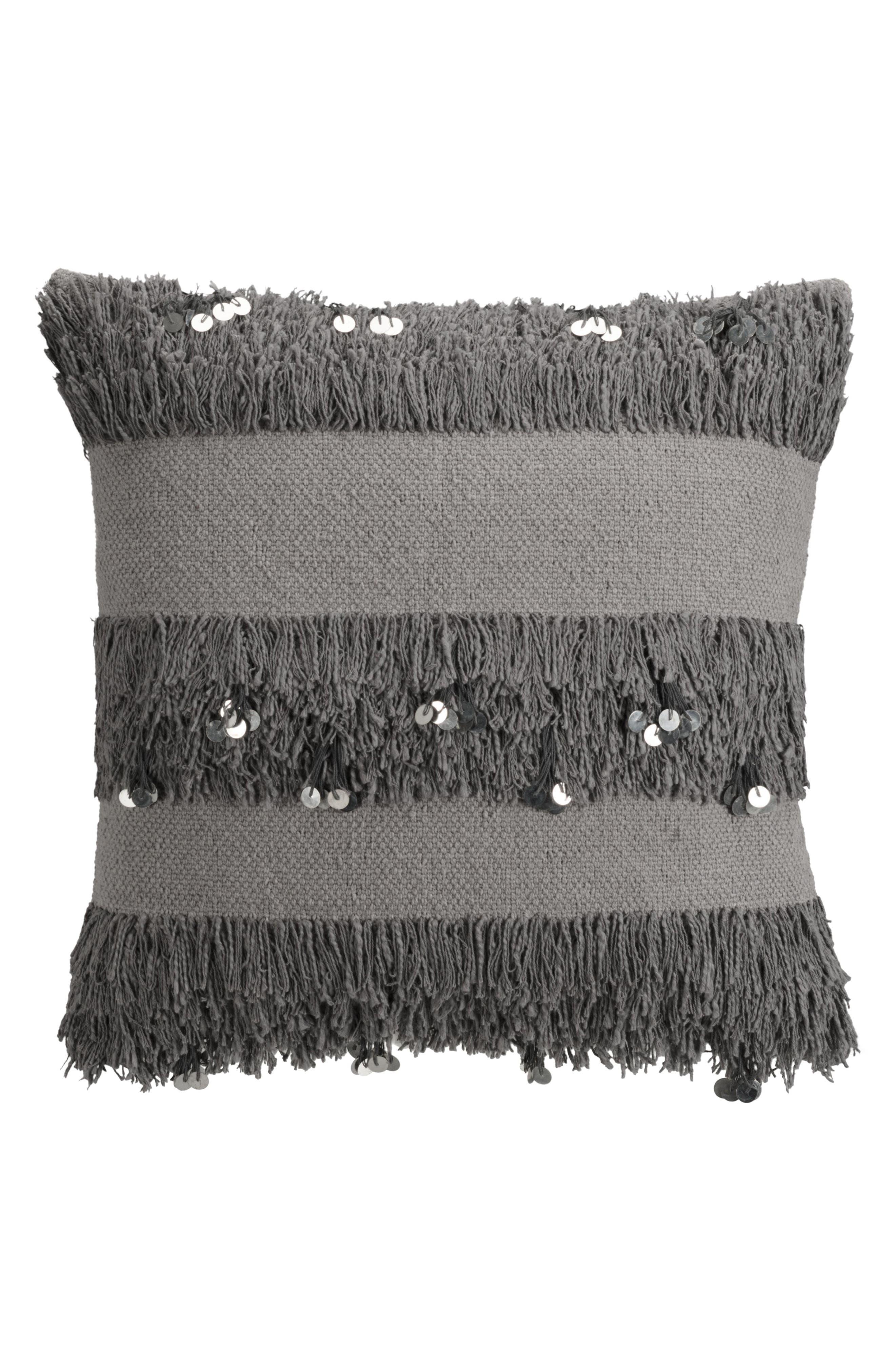 cupcakes & cashmere Sequin Fringe Pillow,                         Main,                         color, Grey