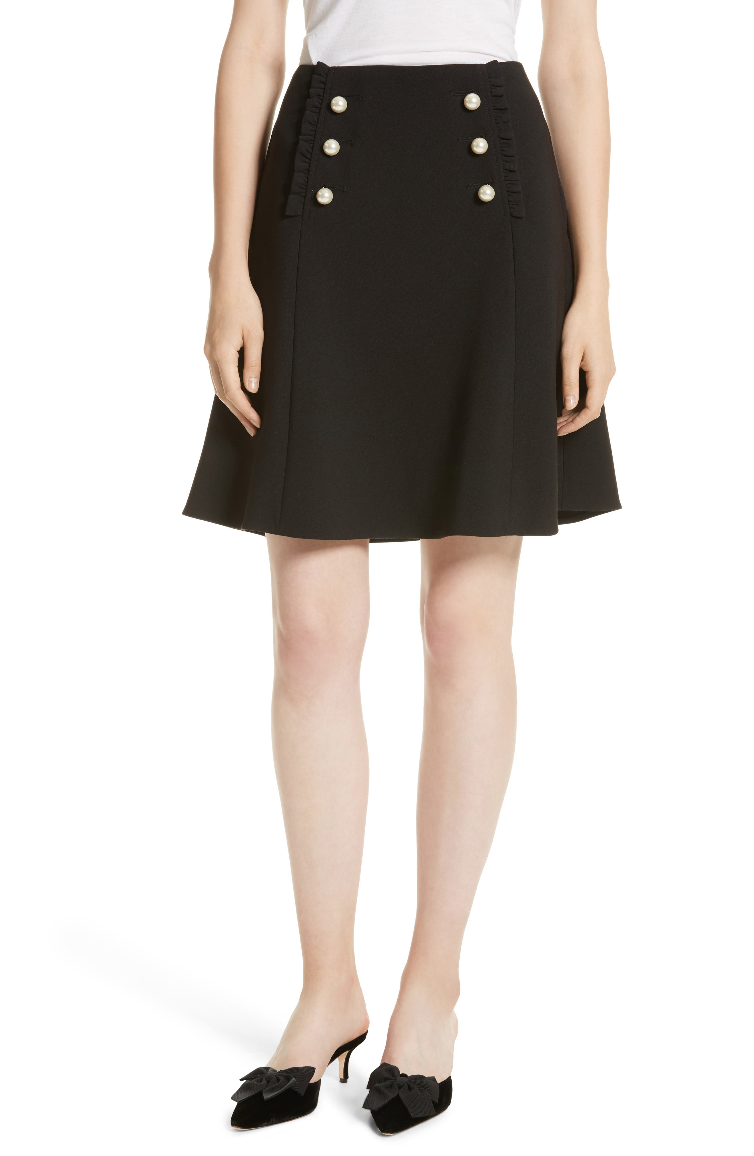 pearly button crepe skirt,                         Main,                         color, Black