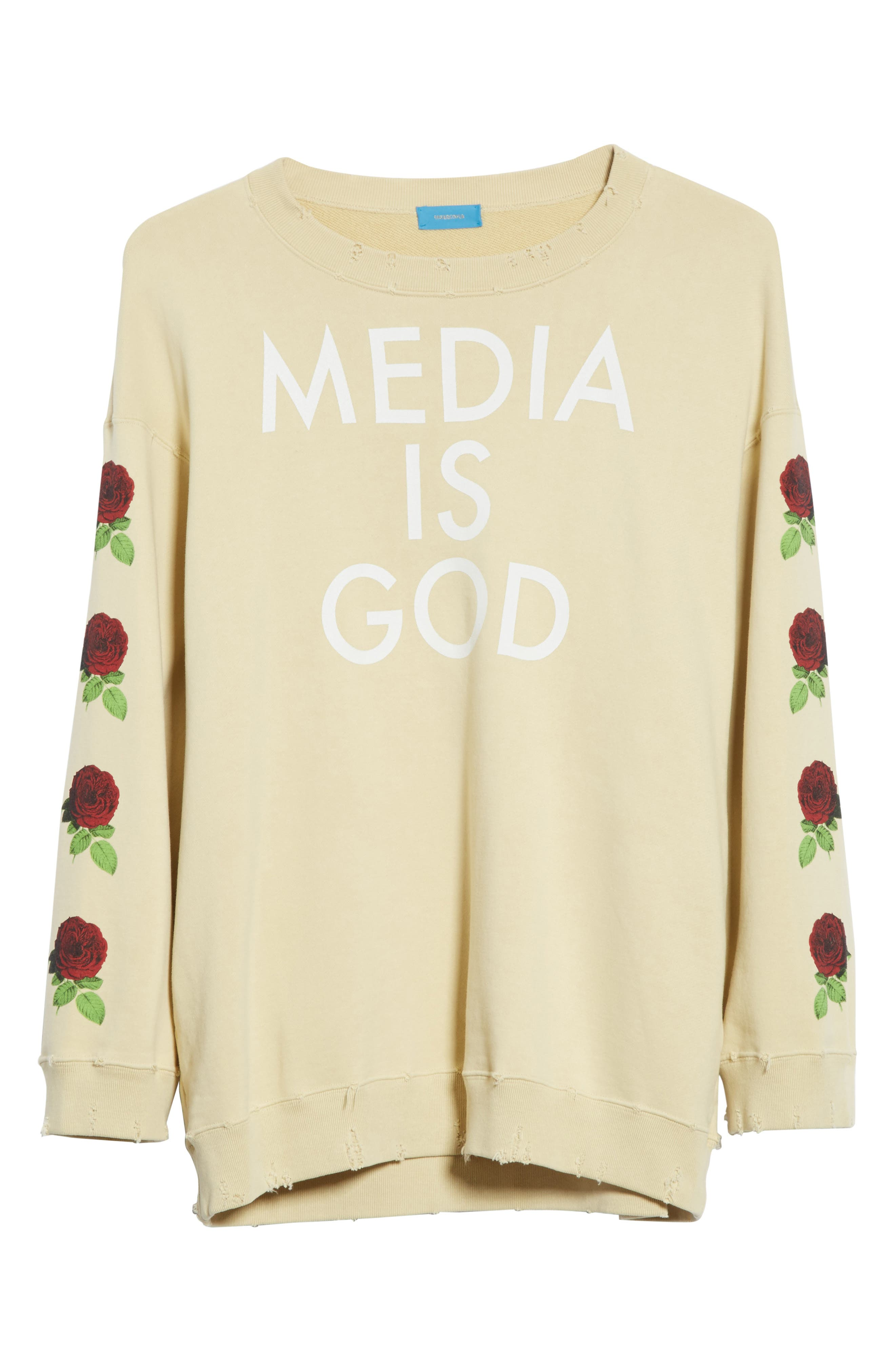 Media Is God Sweatshirt,                             Alternate thumbnail 6, color,                             Cream
