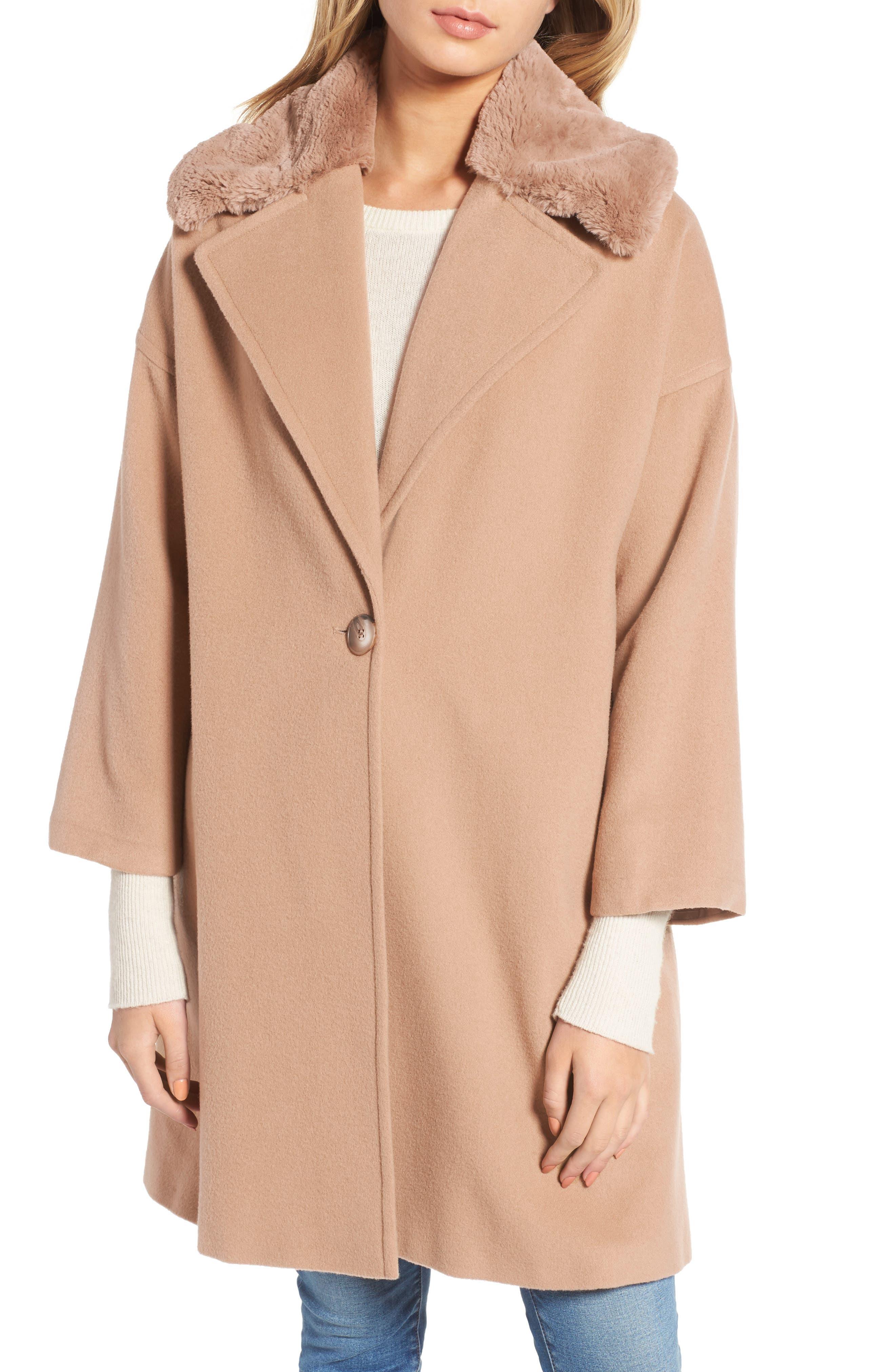 Charles Gray London Faux Fur Collar Overcoat