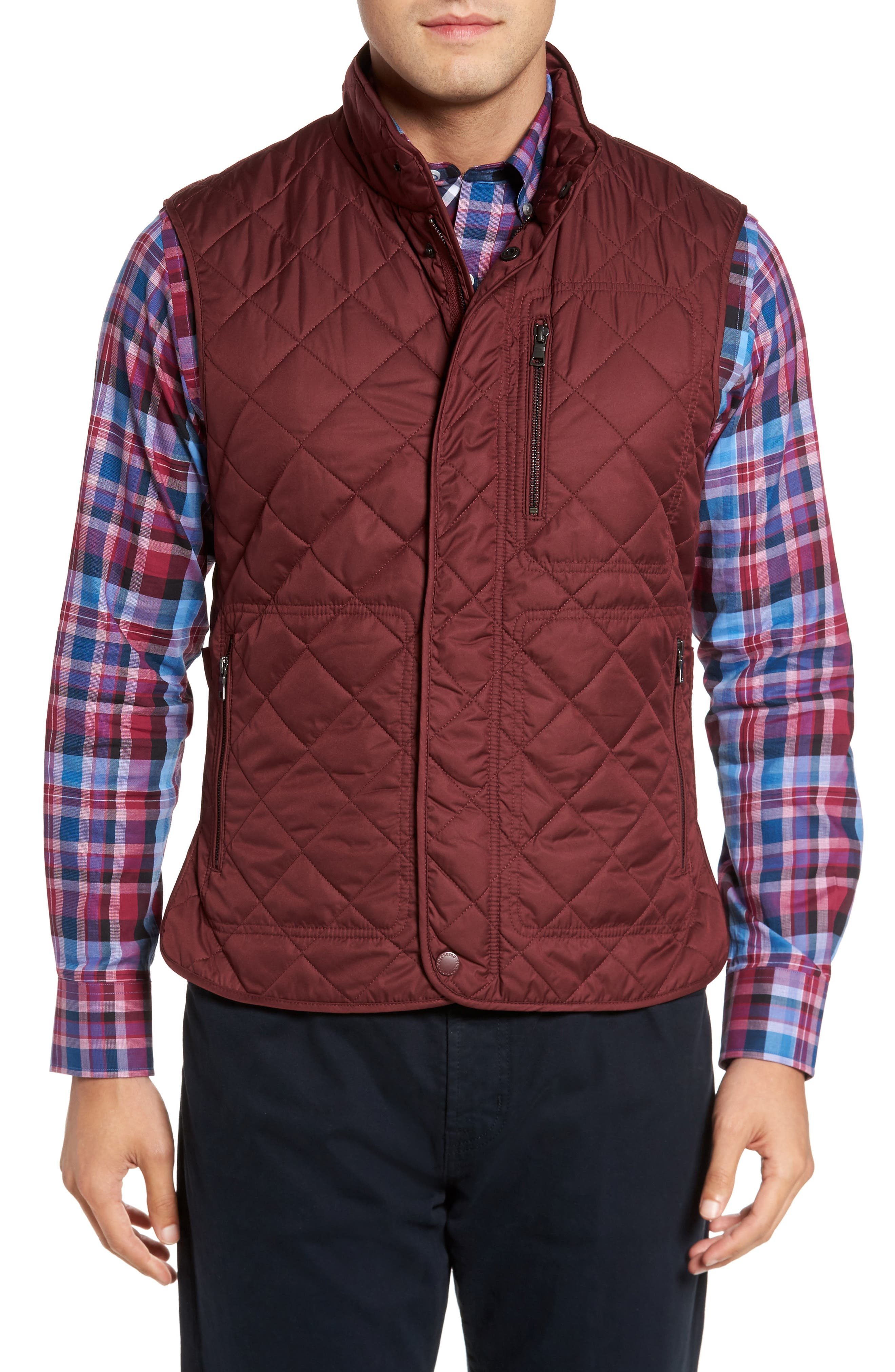 Hessmer Quilted Vest,                             Main thumbnail 1, color,                             Burgundy