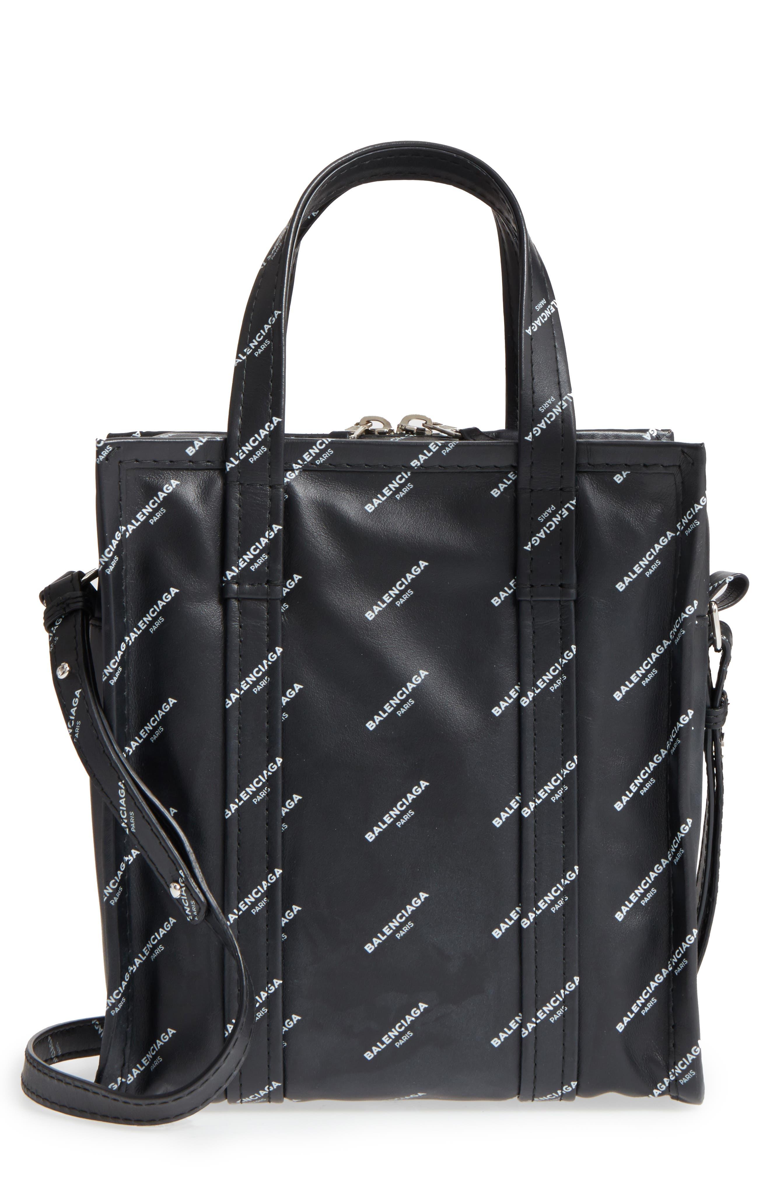 Alternate Image 1 Selected - Balenciaga Extra Small Bazar Logo Leather Shopper