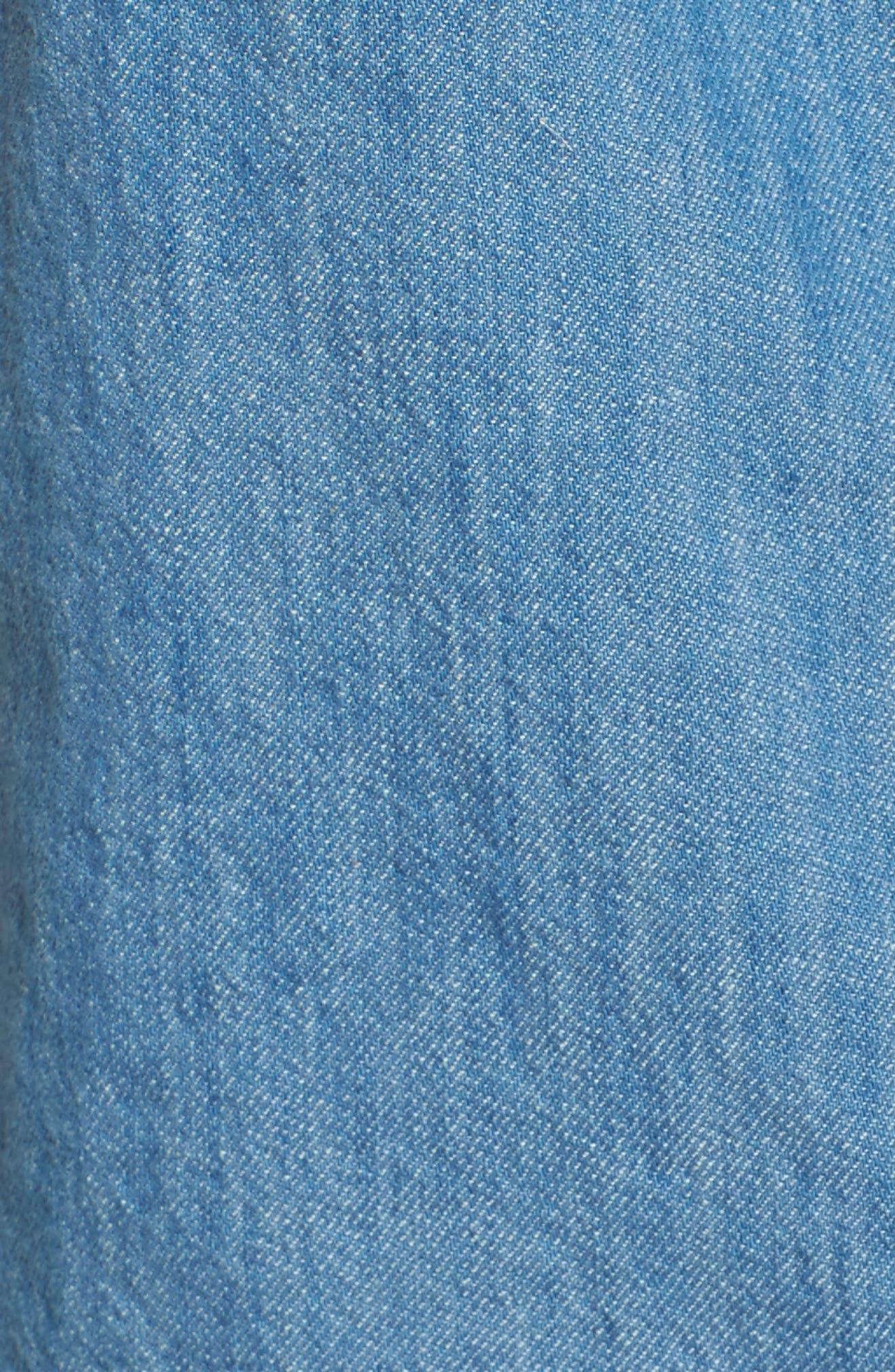 Asymmetrical Raw Edge Denim Top,                             Alternate thumbnail 5, color,                             Making Waves