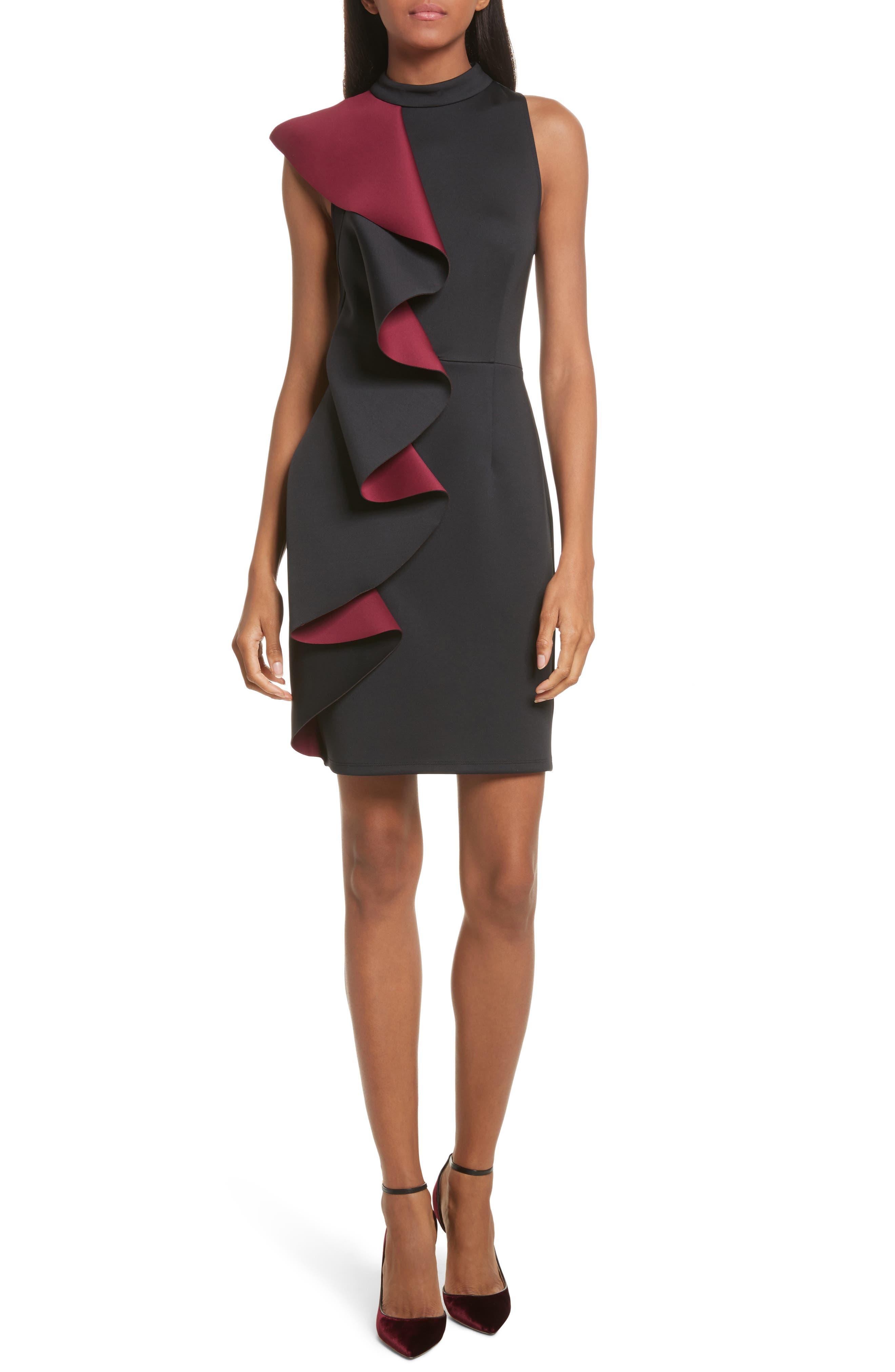 Ted Baker London Contrast Ruffle Body-Con Dress