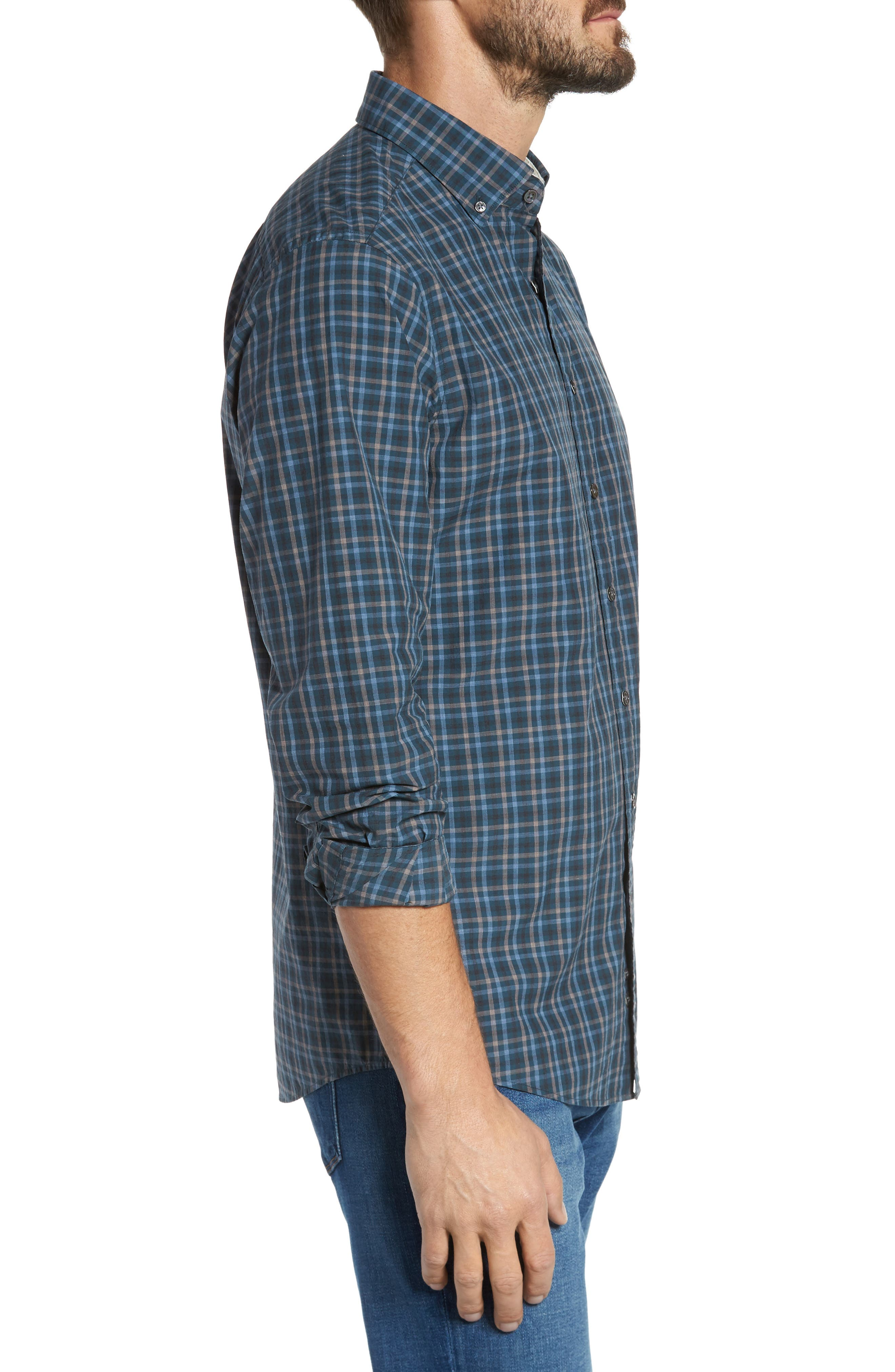 Rock and Pillar Check Sport Shirt,                             Alternate thumbnail 3, color,                             Forest