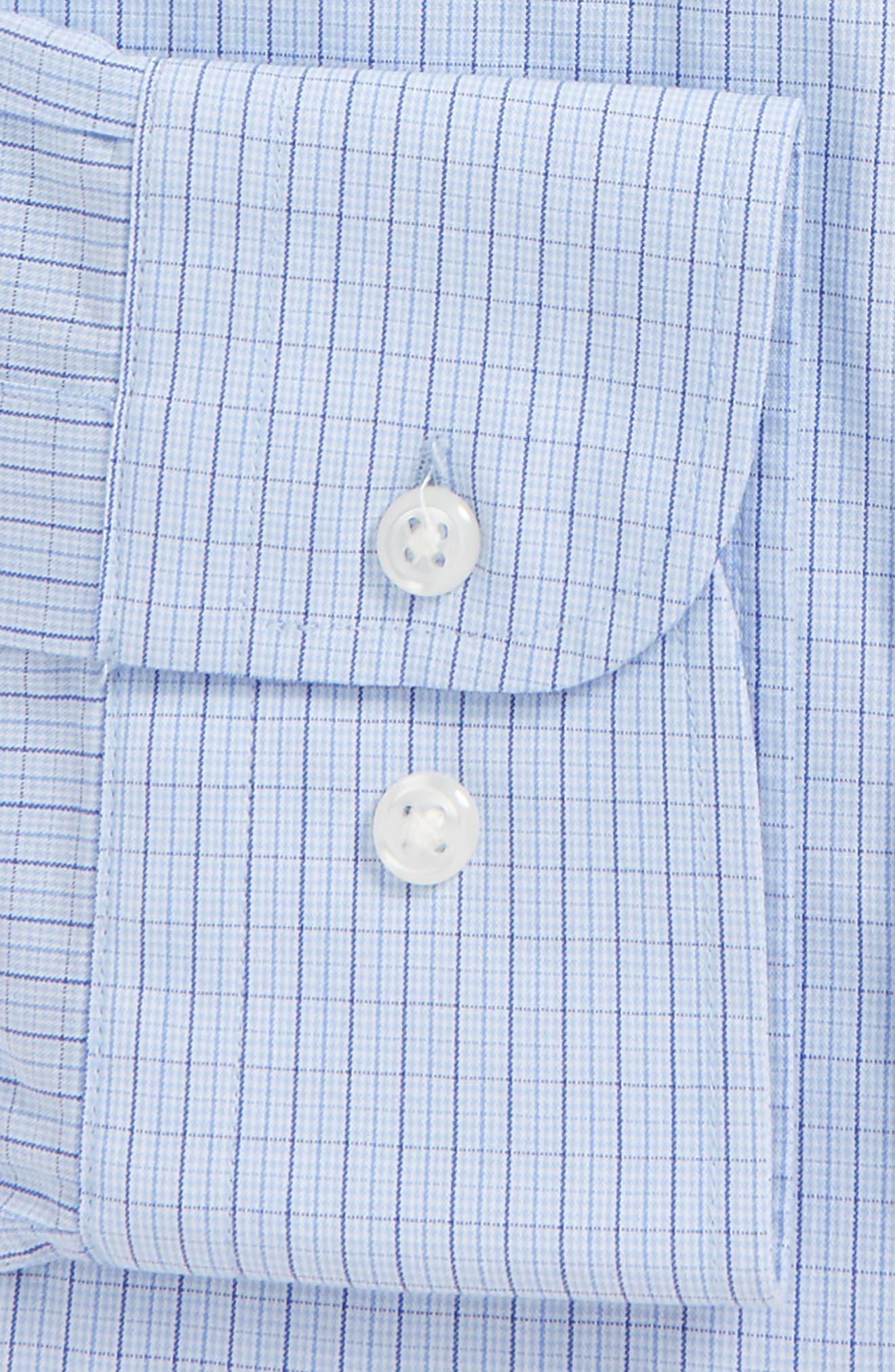 Tech-Smart Traditional Fit Stretch Tattersall Dress Shirt,                             Alternate thumbnail 4, color,                             Blue Brunerra