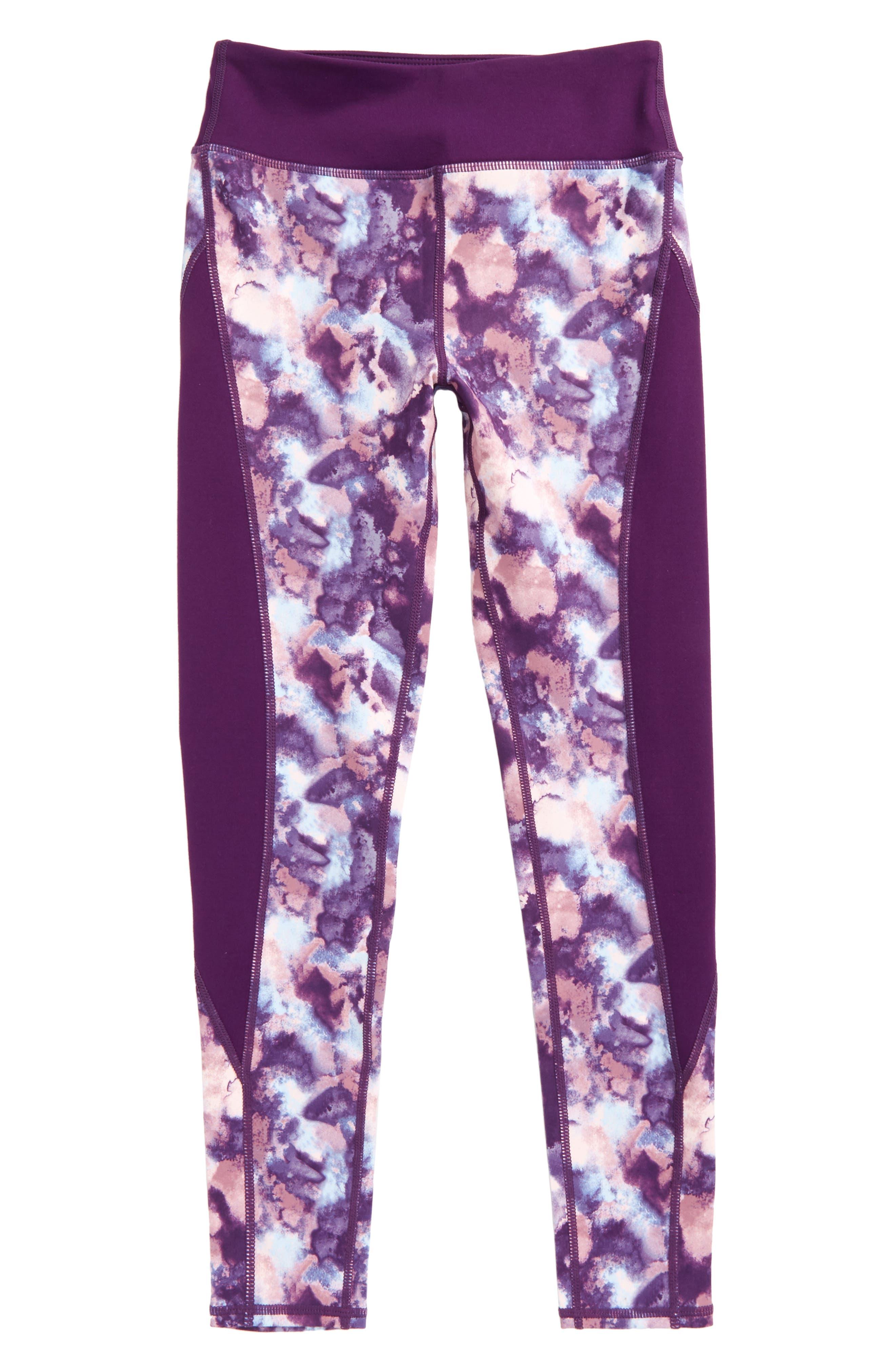 Print High Waist Leggings,                         Main,                         color, Purple Royal Watercolor Cloud