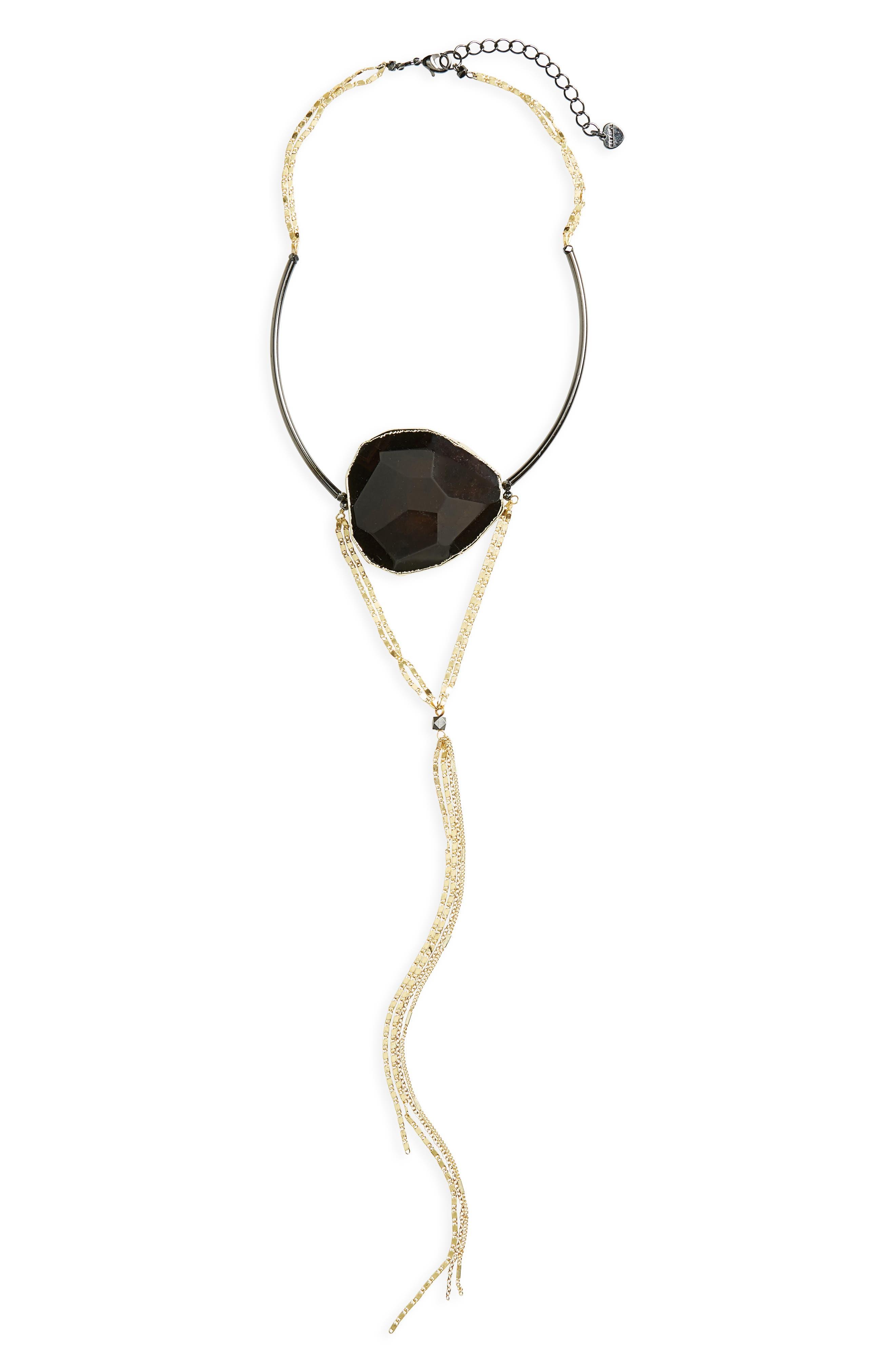 Agate Pendant Choker Y-Necklace,                         Main,                         color, Black