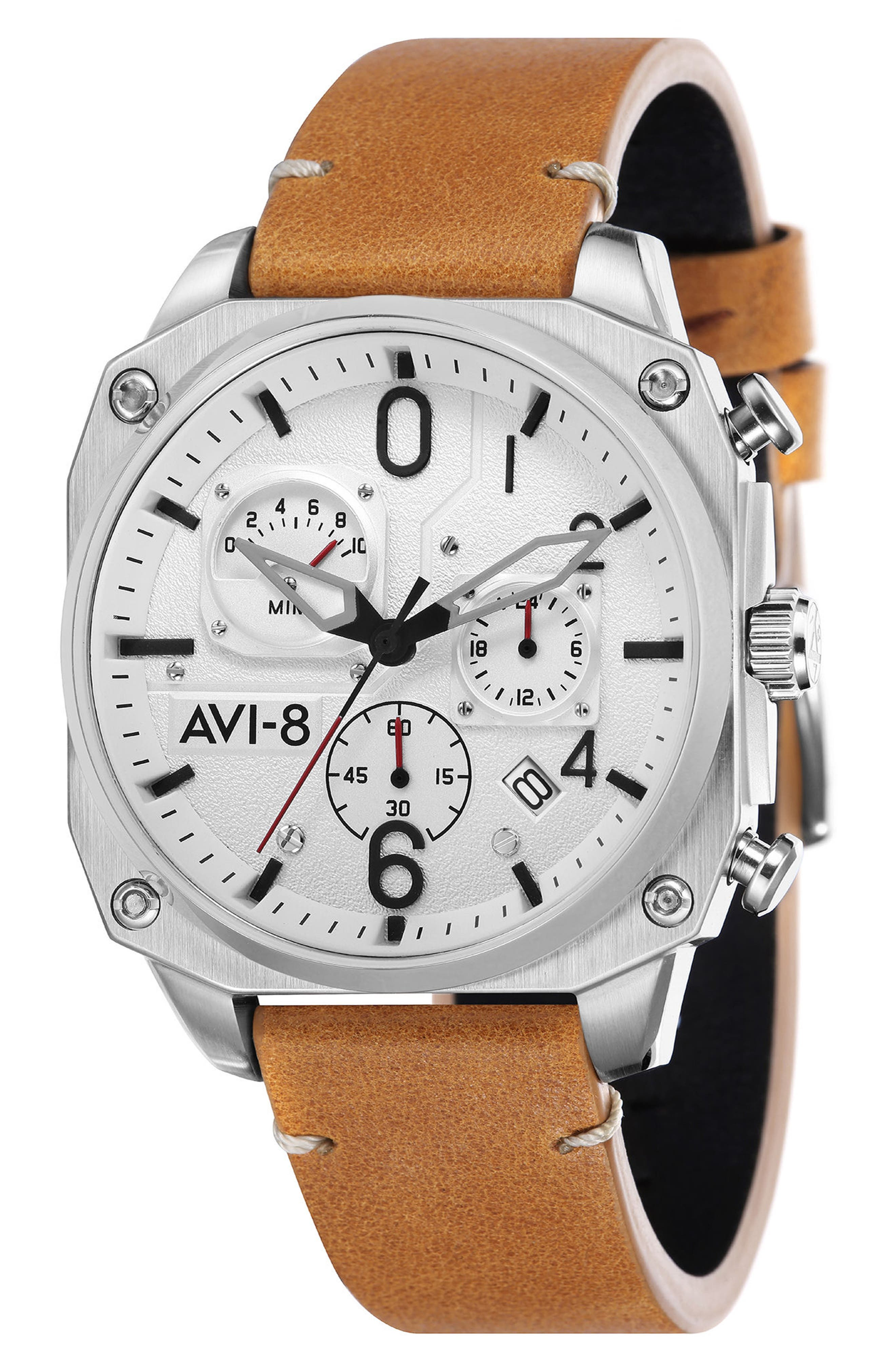 Hawker Hunter Chronograph Leather Strap Watch, 45mm,                         Main,                         color, White/ Tan