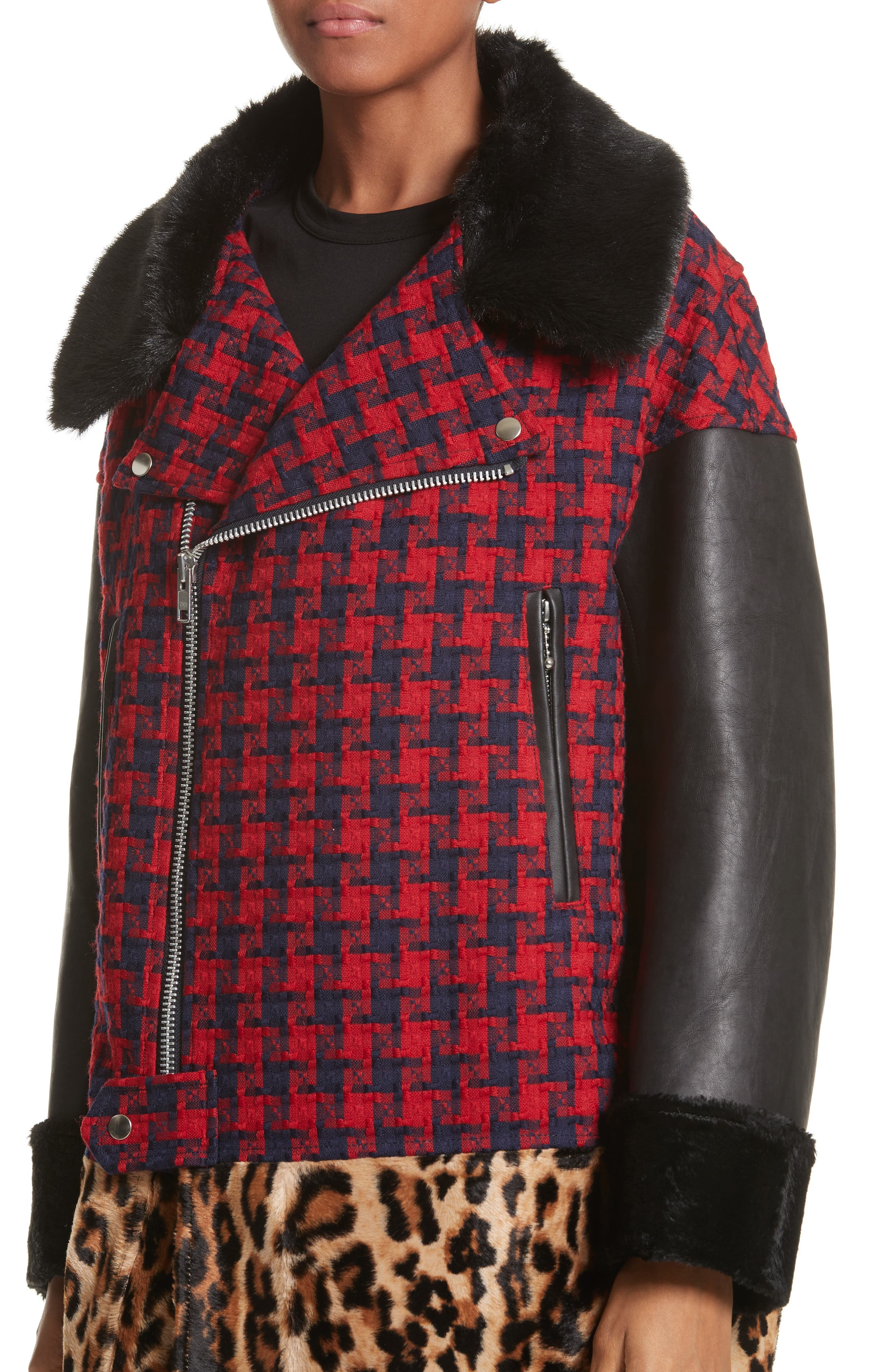 Buffalo Check Moto Jacket with Faux Fur Trim,                             Alternate thumbnail 4, color,                             Red/Nvy X Bge/Brn