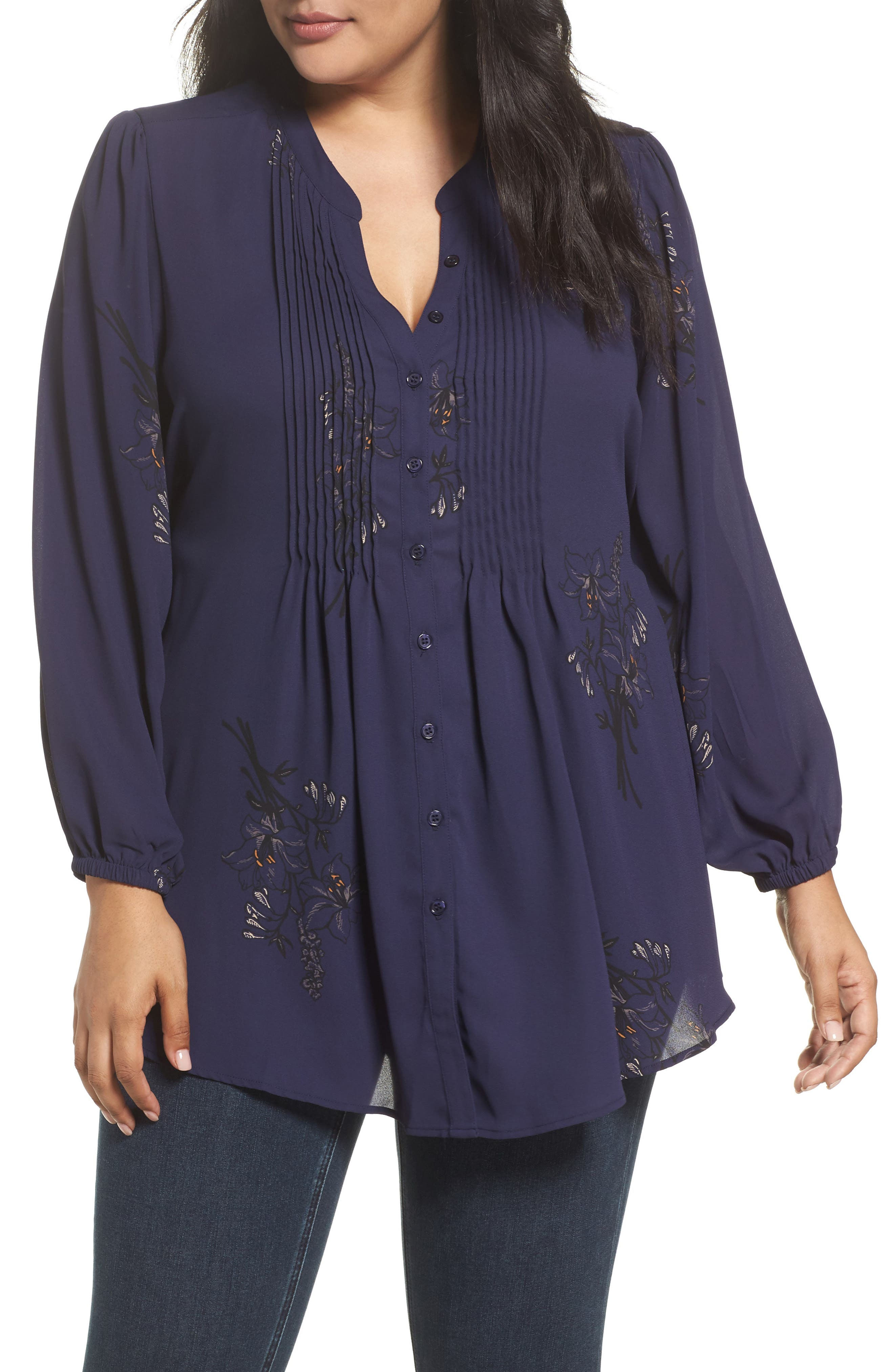 Alternate Image 1 Selected - Melissa McCarthy Seven7 Classic Pintuck Shirt (Plus Size)