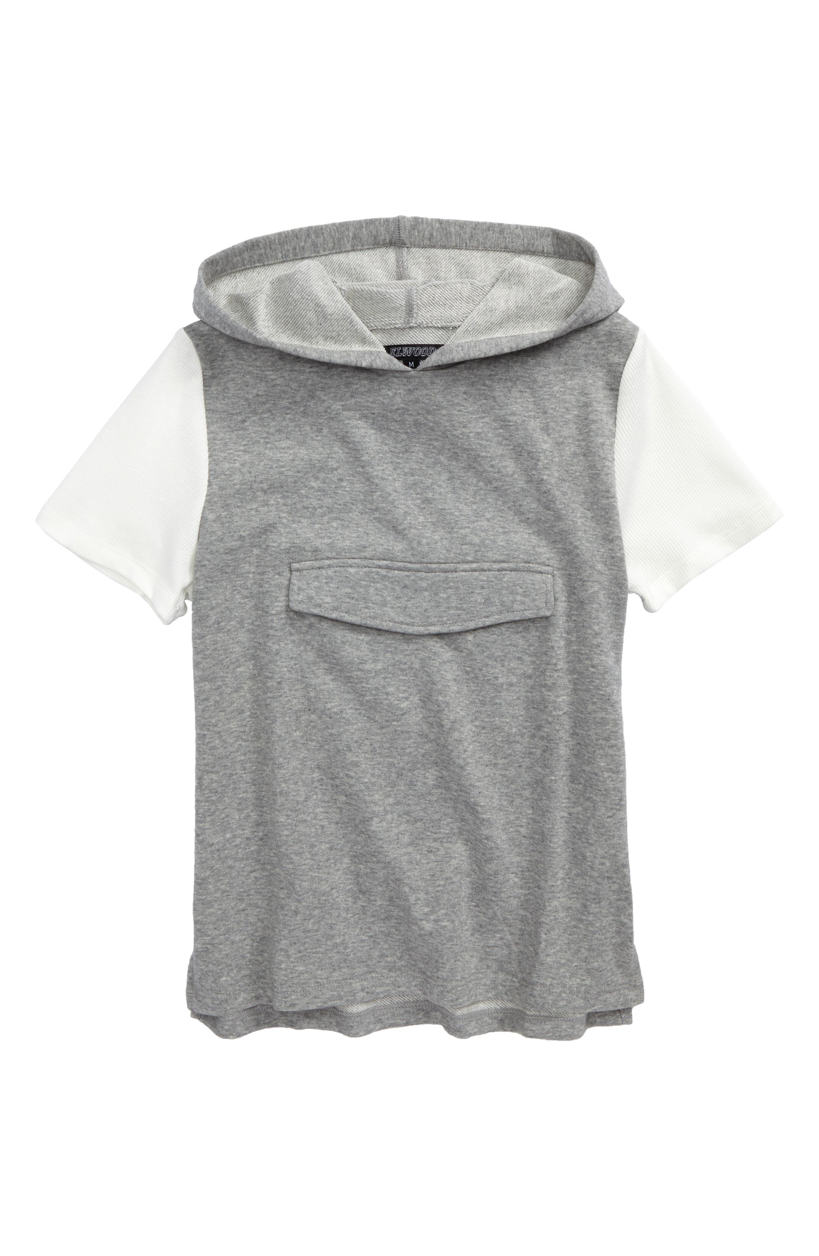 Snap Pocket Short Sleeve Hoodie,                         Main,                         color, Heather Grey