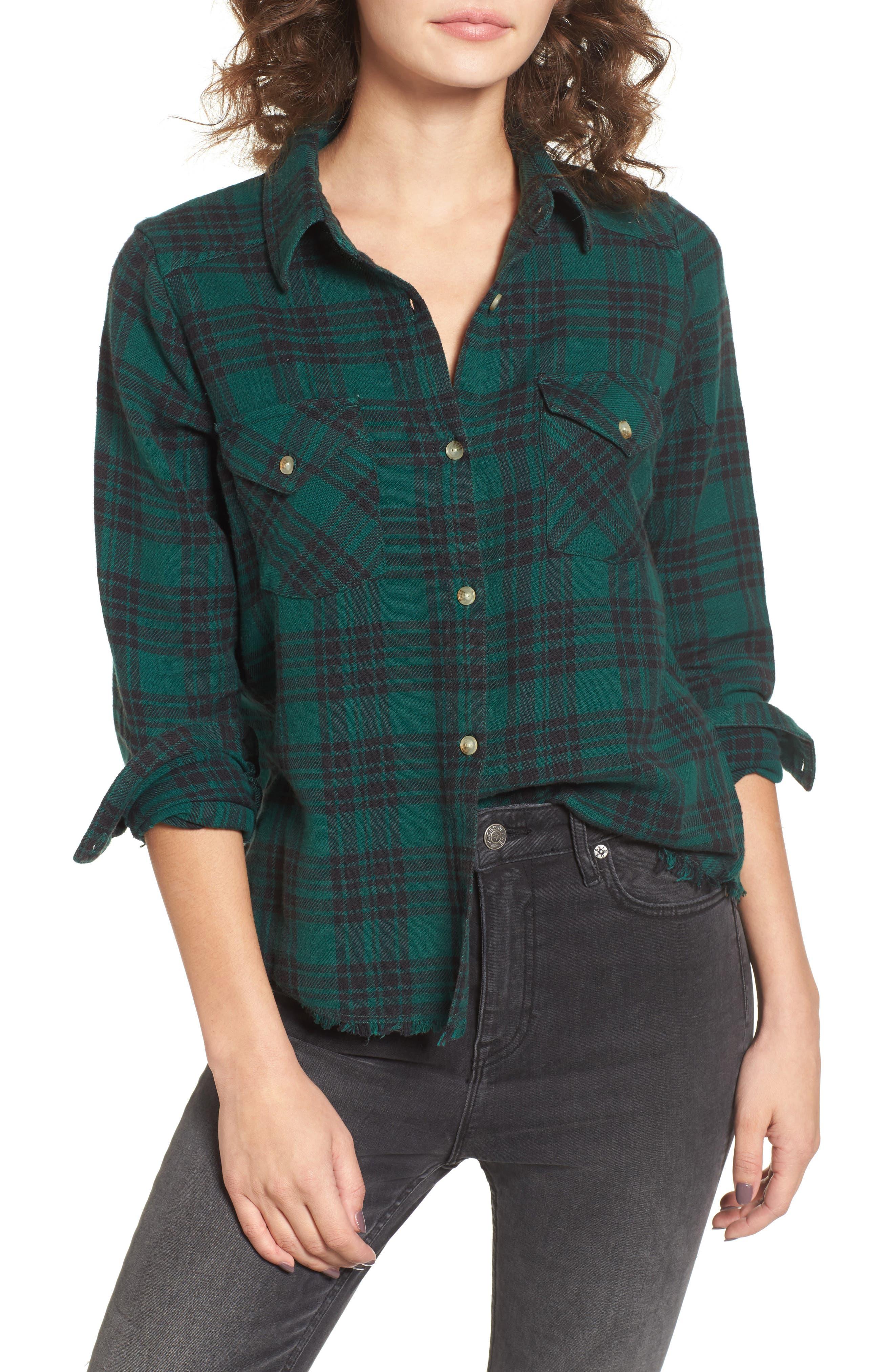 In a Haze Plaid Cotton Shirt,                         Main,                         color, Garden Green