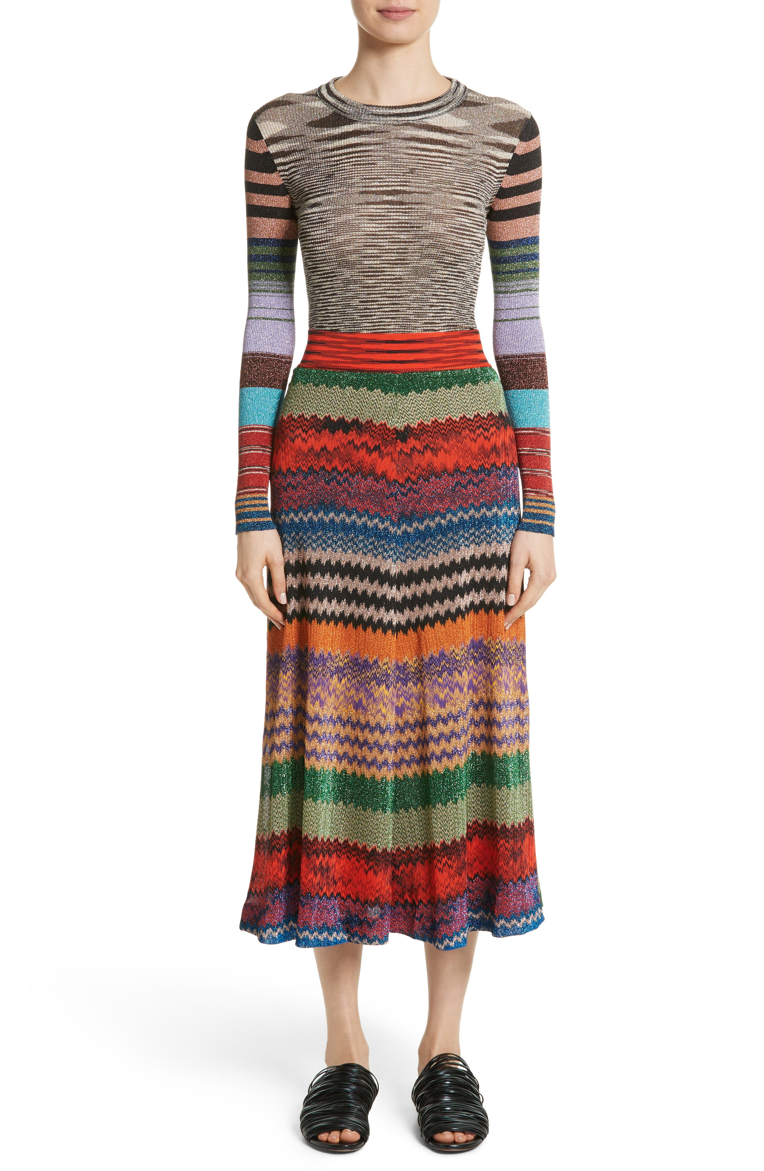 Alternate Image 7  - Missoni Metallic Stripe Knit Midi Skirt