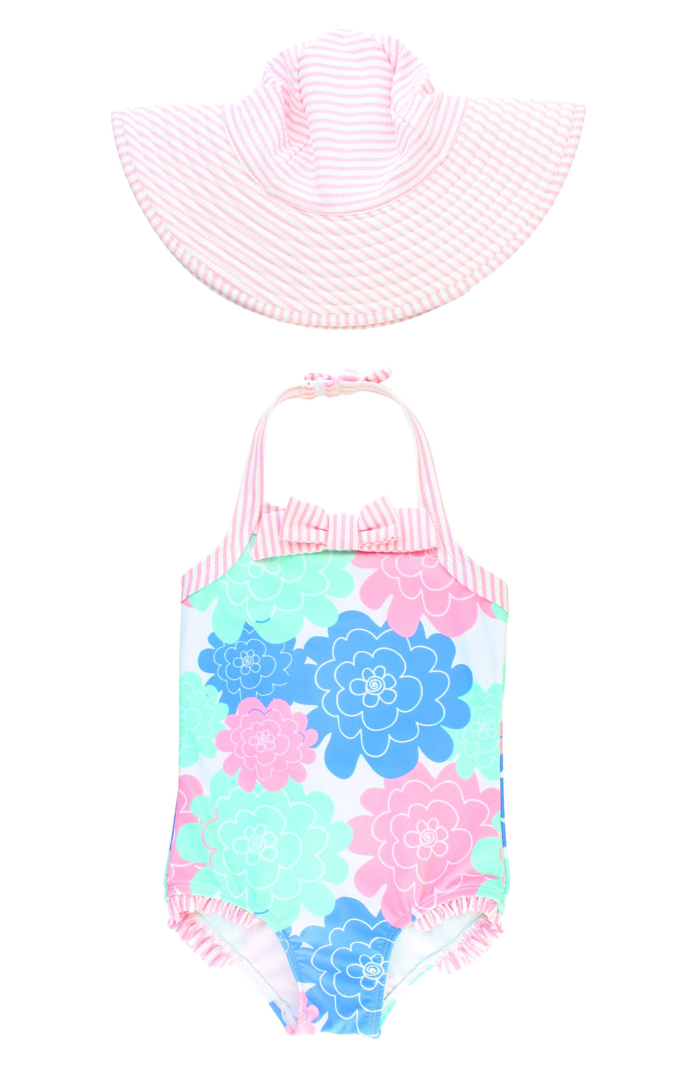 Main Image - RuffleButts One-Piece Halter Swimsuit & Hat Set (Toddler Girls)