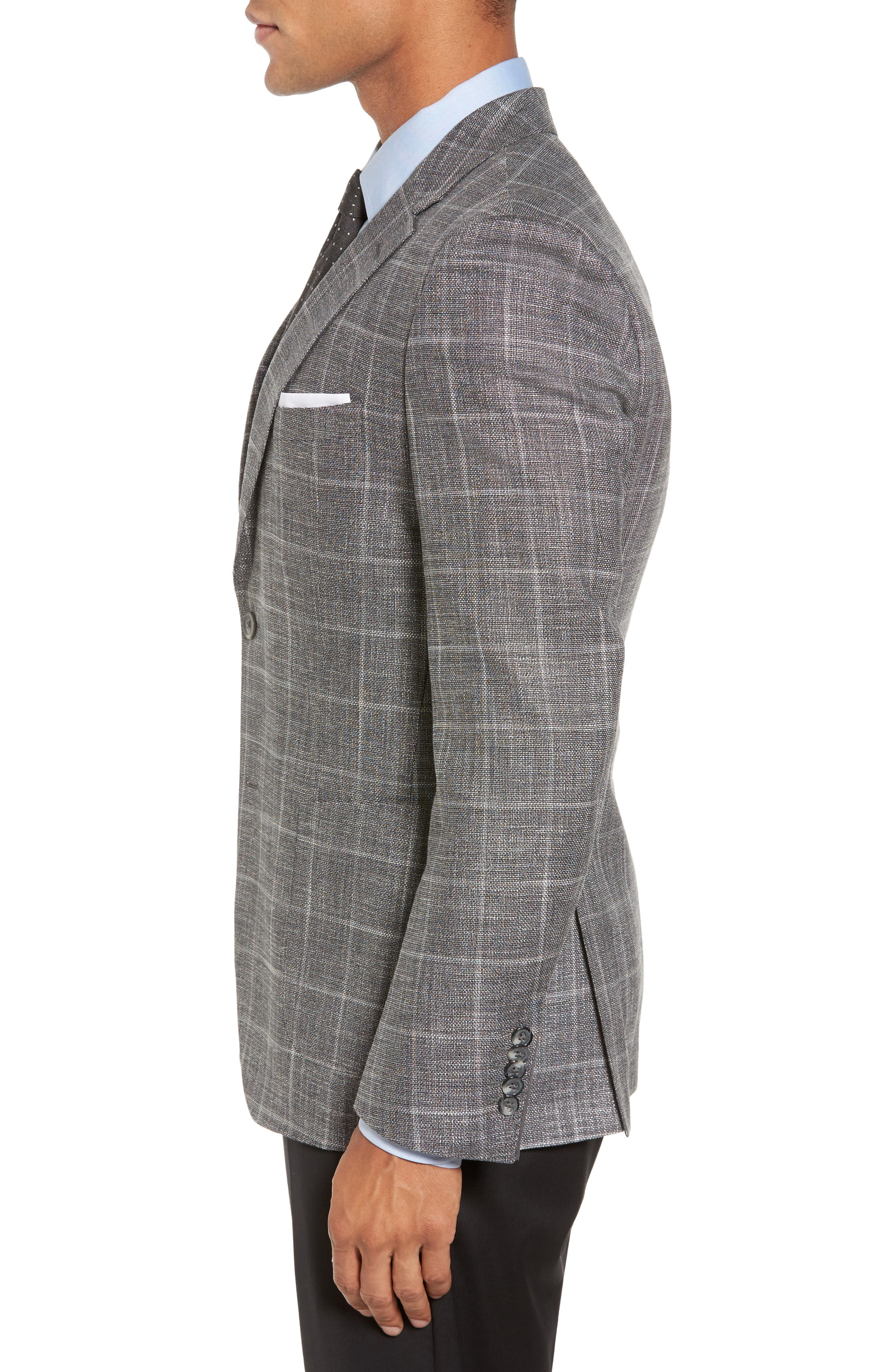 T-Naiden Trim Fit Windowpane Sport Coat,                             Alternate thumbnail 3, color,                             Medium Grey