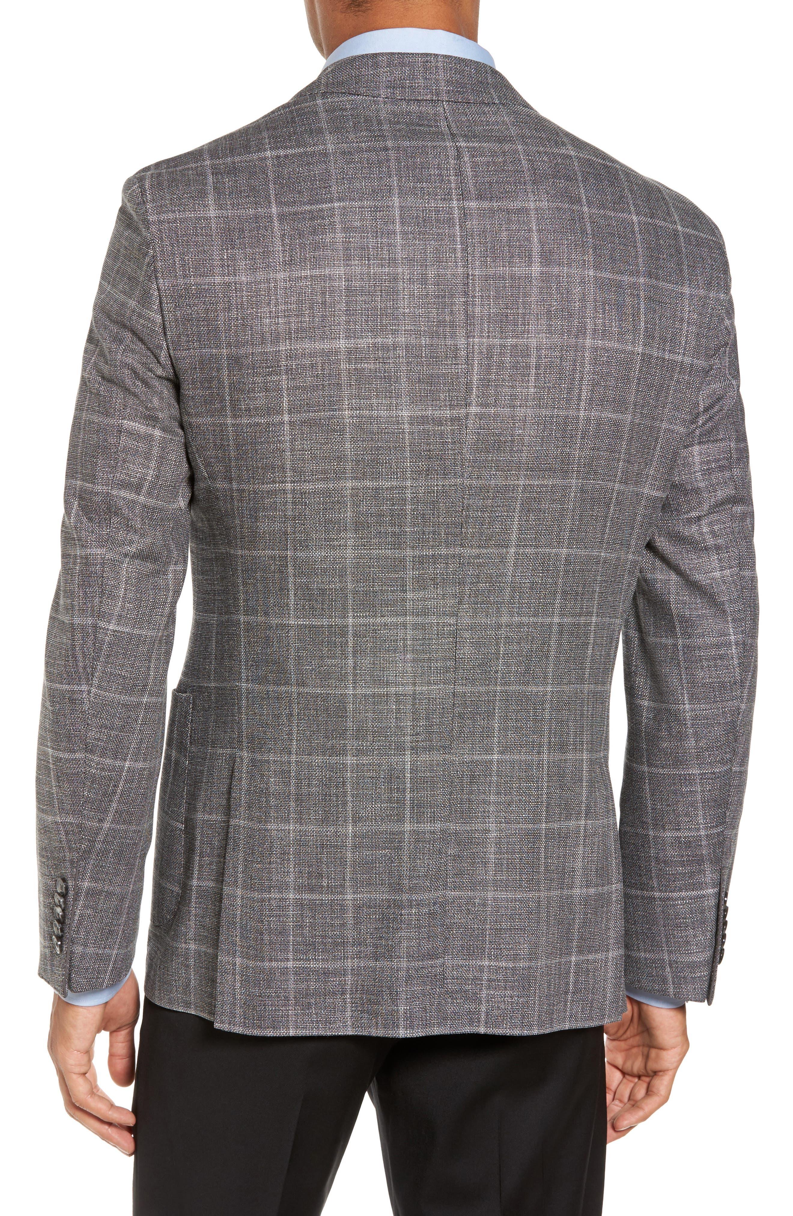 T-Naiden Trim Fit Windowpane Sport Coat,                             Alternate thumbnail 2, color,                             Medium Grey