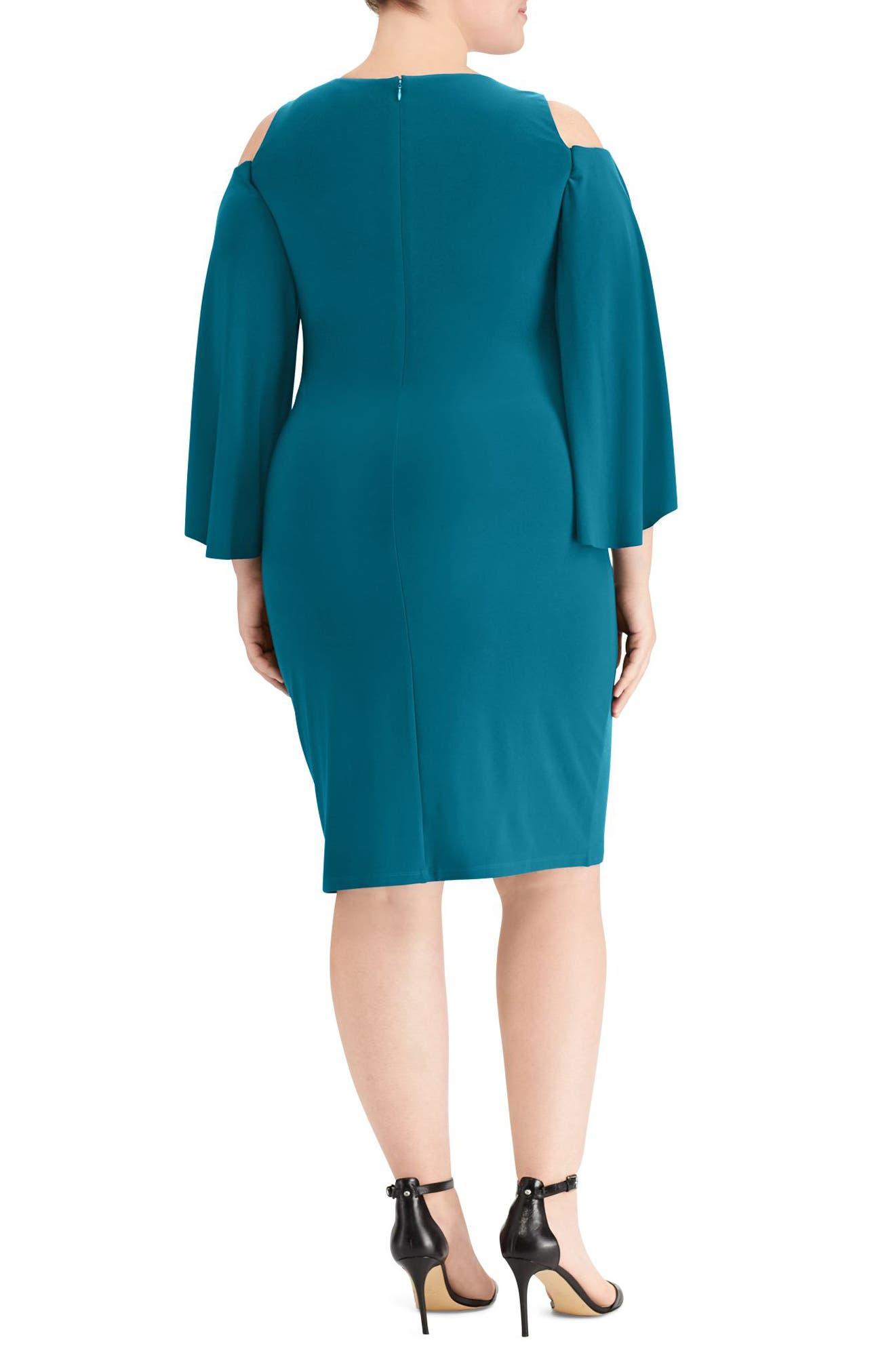 Debbie Cold-Shoulder Dress,                             Alternate thumbnail 2, color,                             French Teal