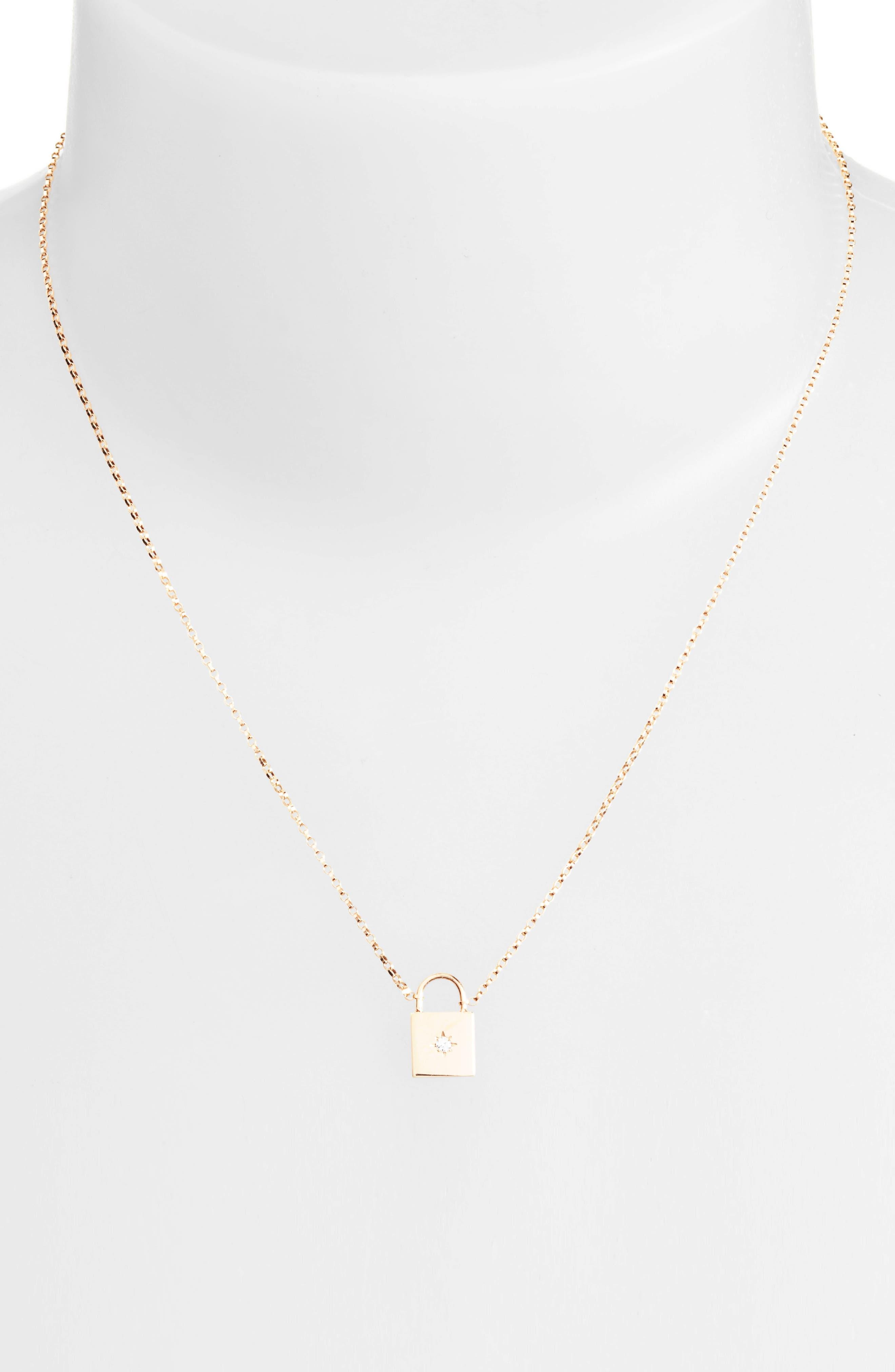 Small Padlock Diamond Pendant Necklace,                             Alternate thumbnail 2, color,                             Yellow Gold