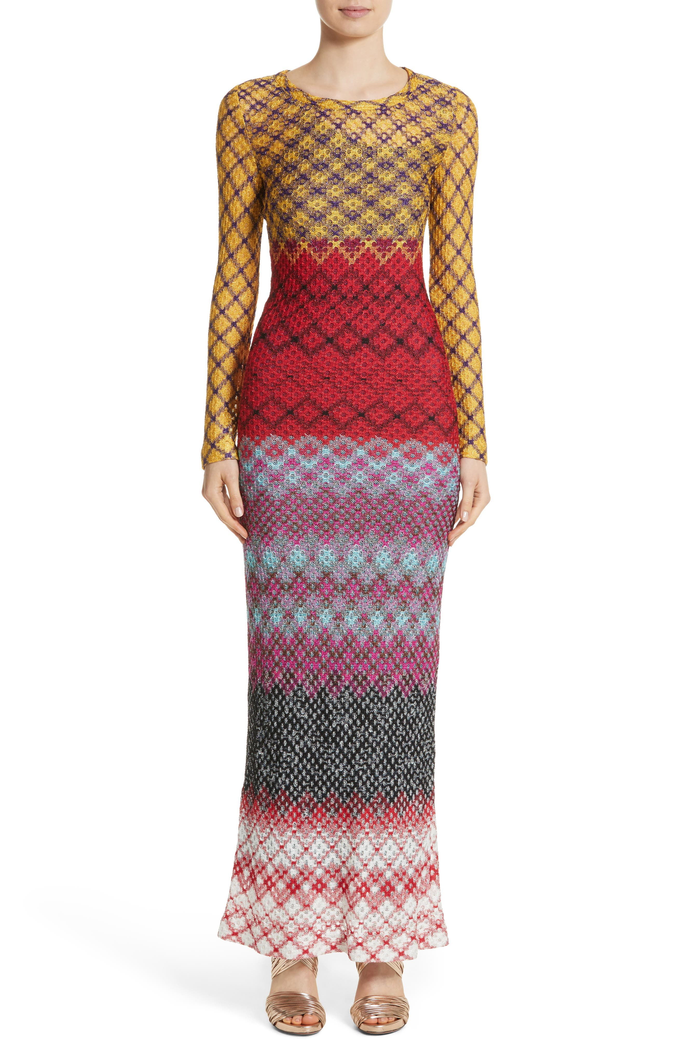 Metallic Knit Maxi Dress,                         Main,                         color, Multi