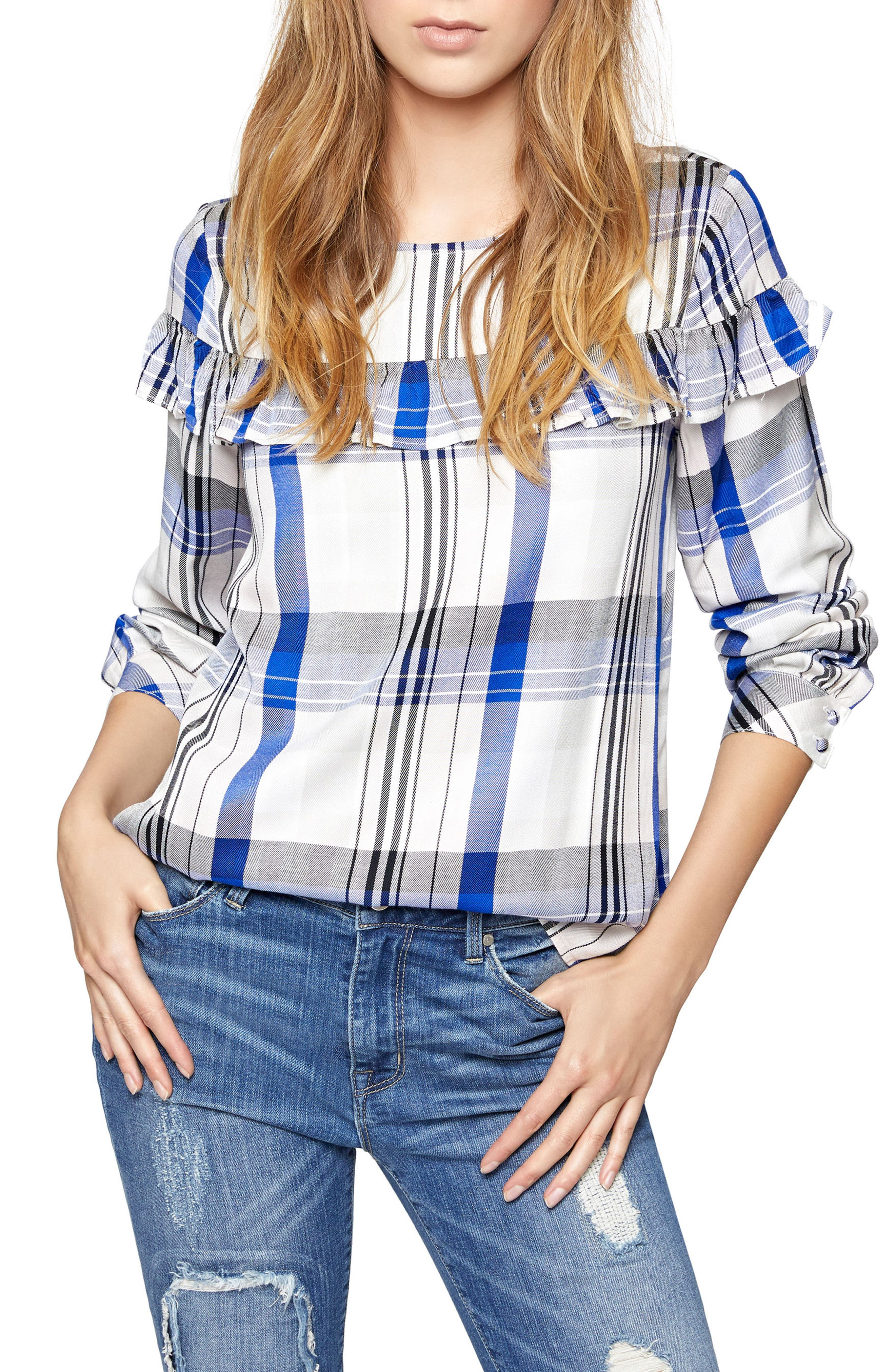 Across the Universe Ruffle Top,                         Main,                         color, Heritage Rose Plaid