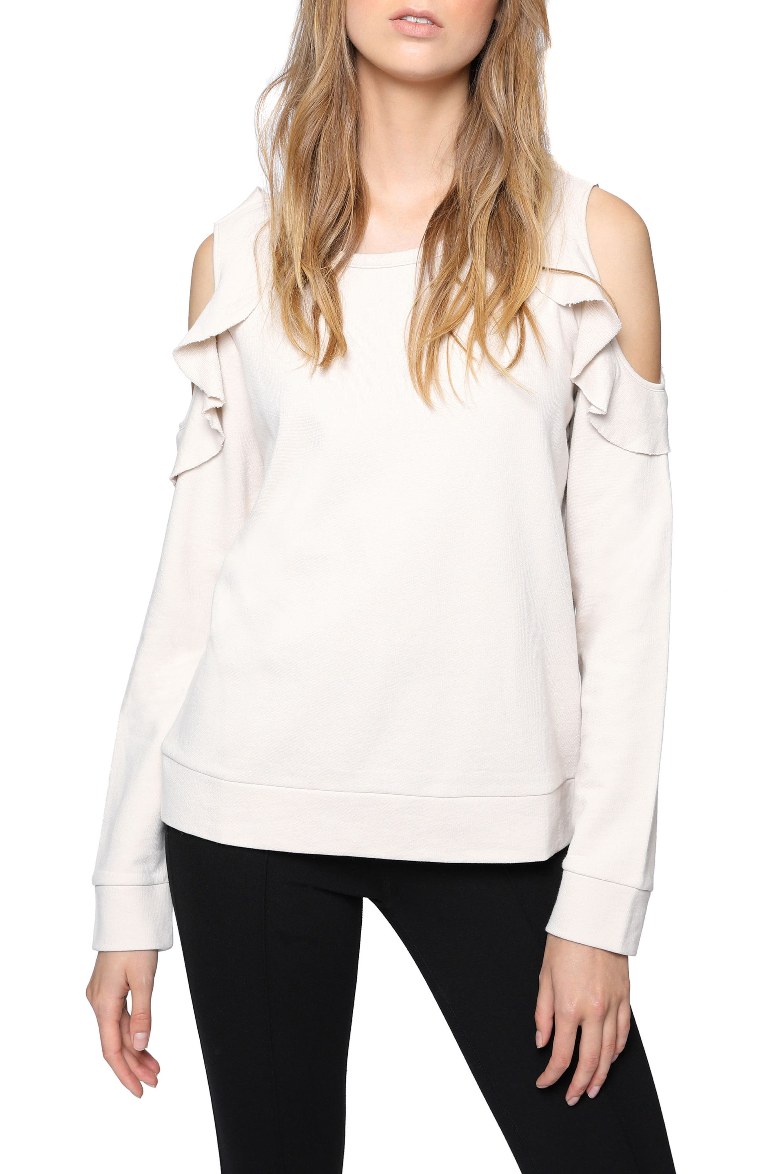 Sanctuary Ashley Bare Ruffle Sweatshirt