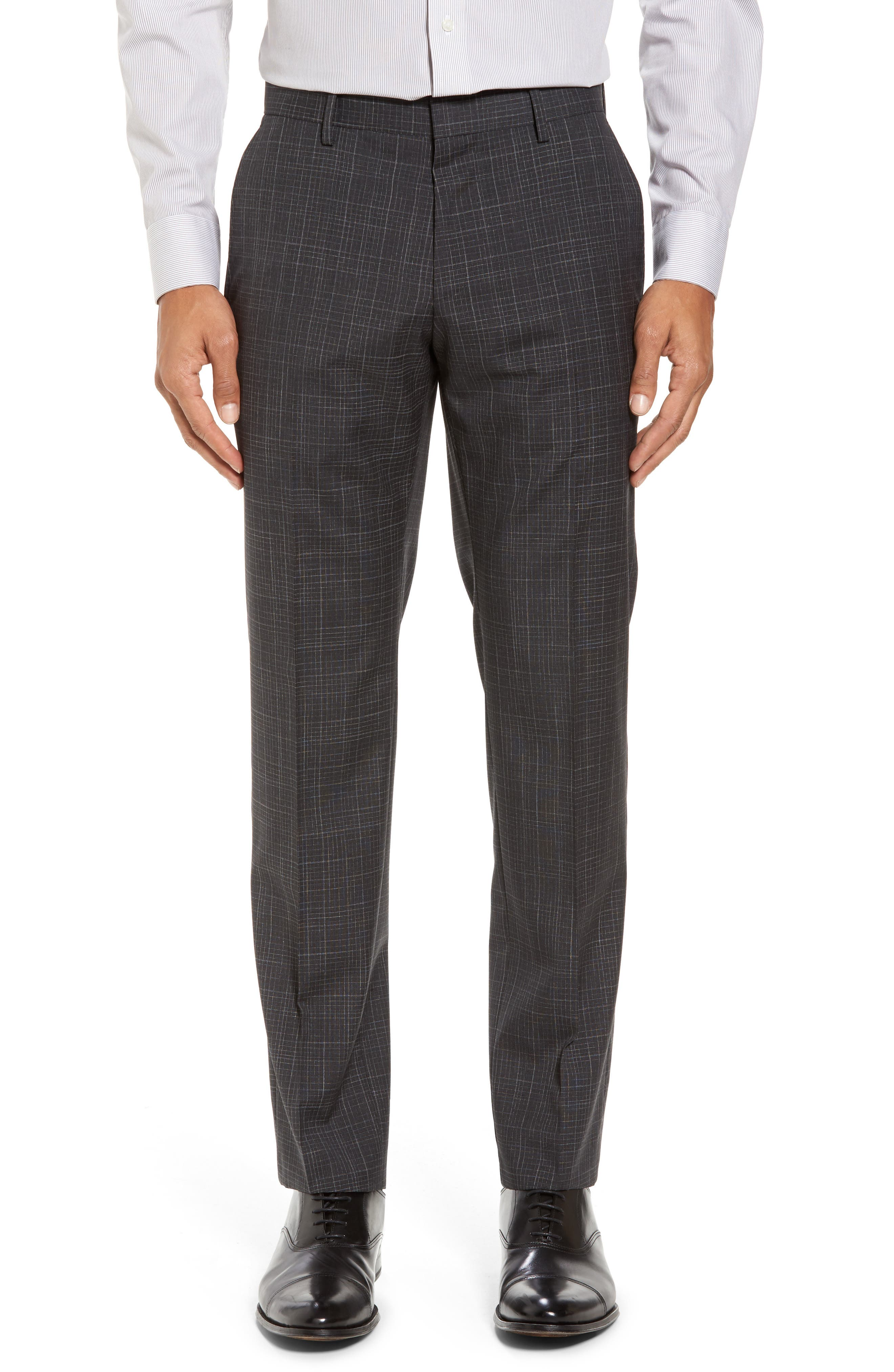 Hutson/Gander Trim Fit Plaid Wool Suit,                             Alternate thumbnail 6, color,                             Open Grey