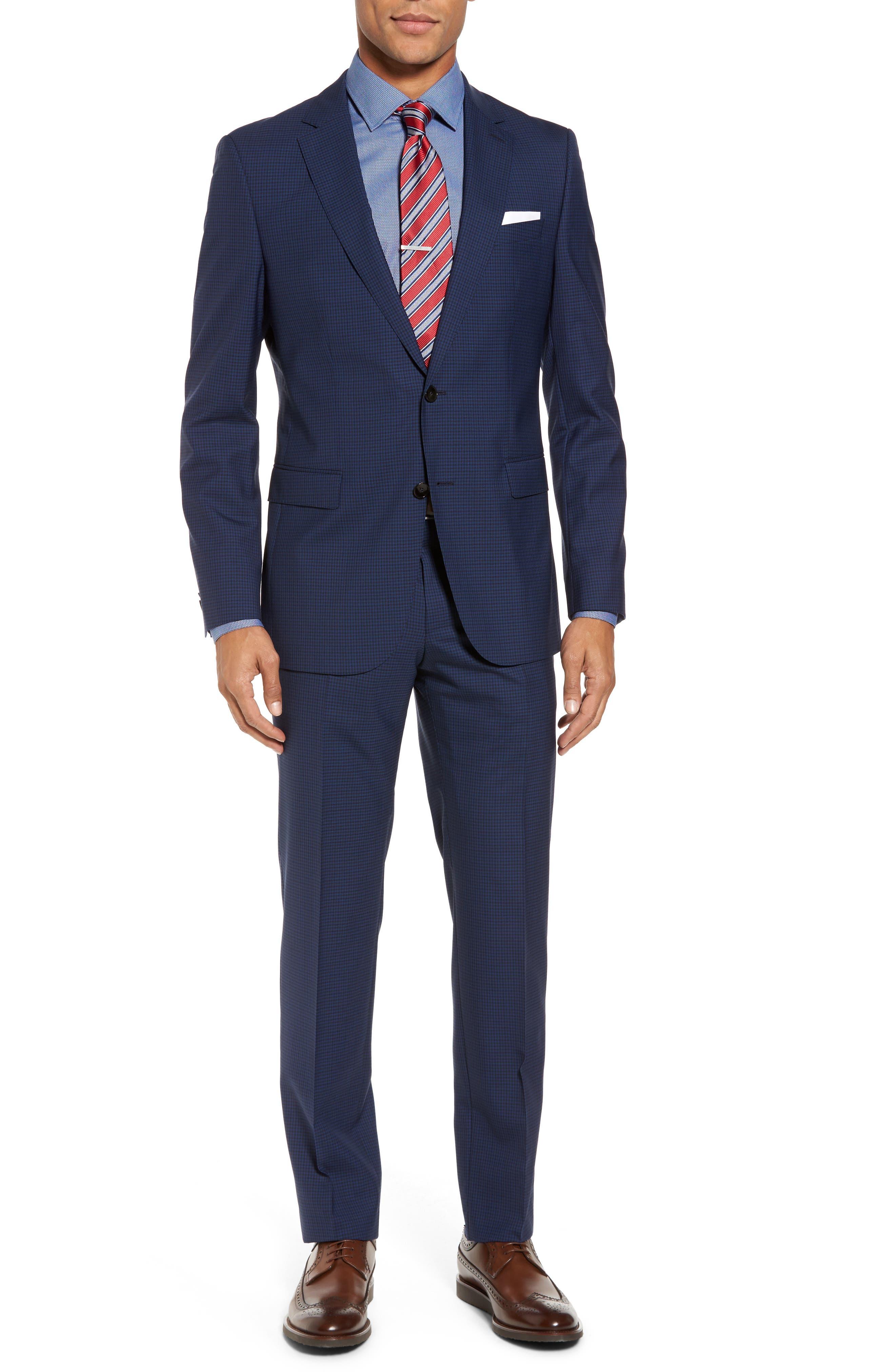 Novan/Ben Trim Fit Check Wool Suit,                         Main,                         color, Dark Blue