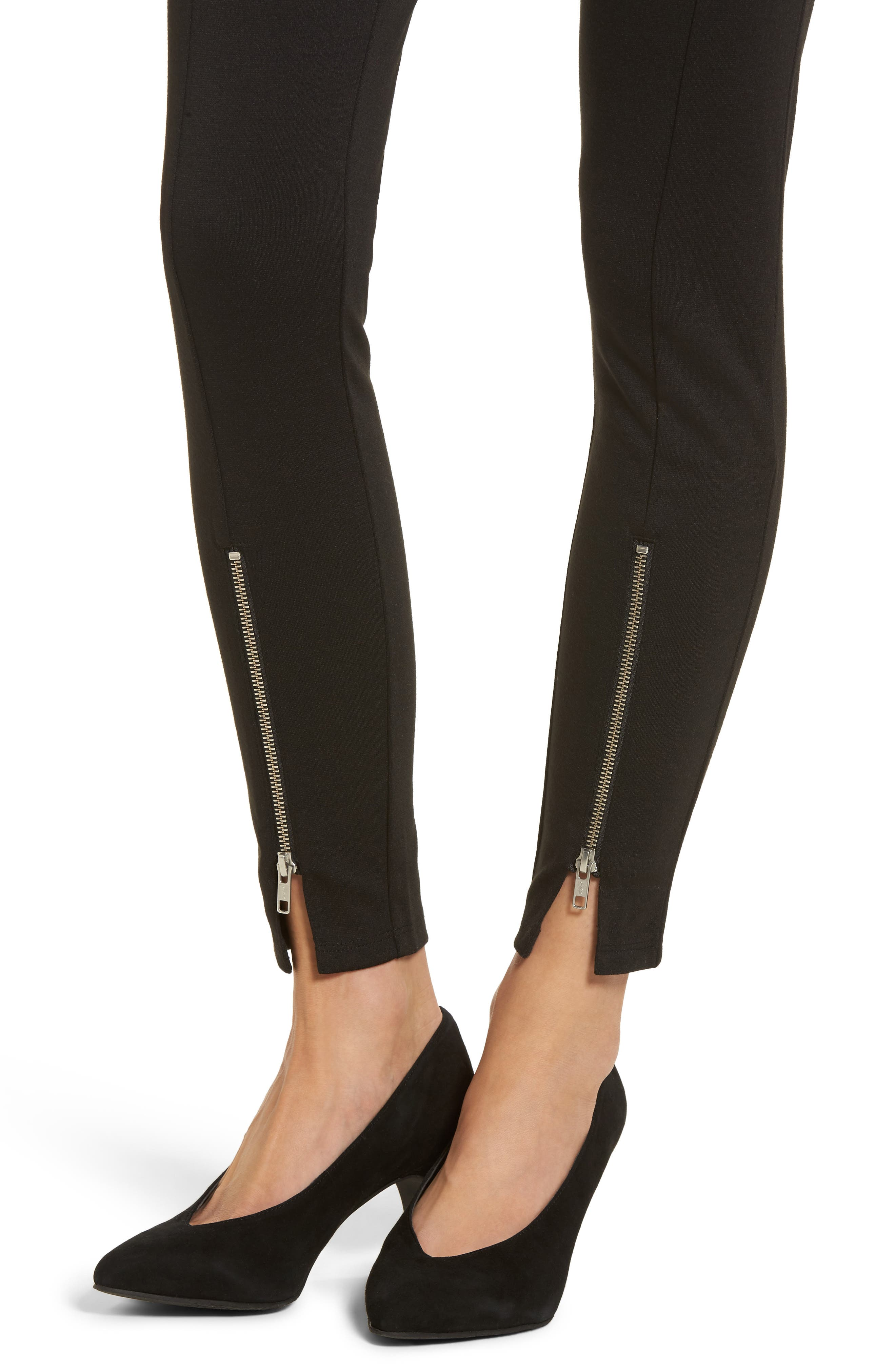 High-Waist Ankle Zip Leggings,                             Alternate thumbnail 4, color,                             Black