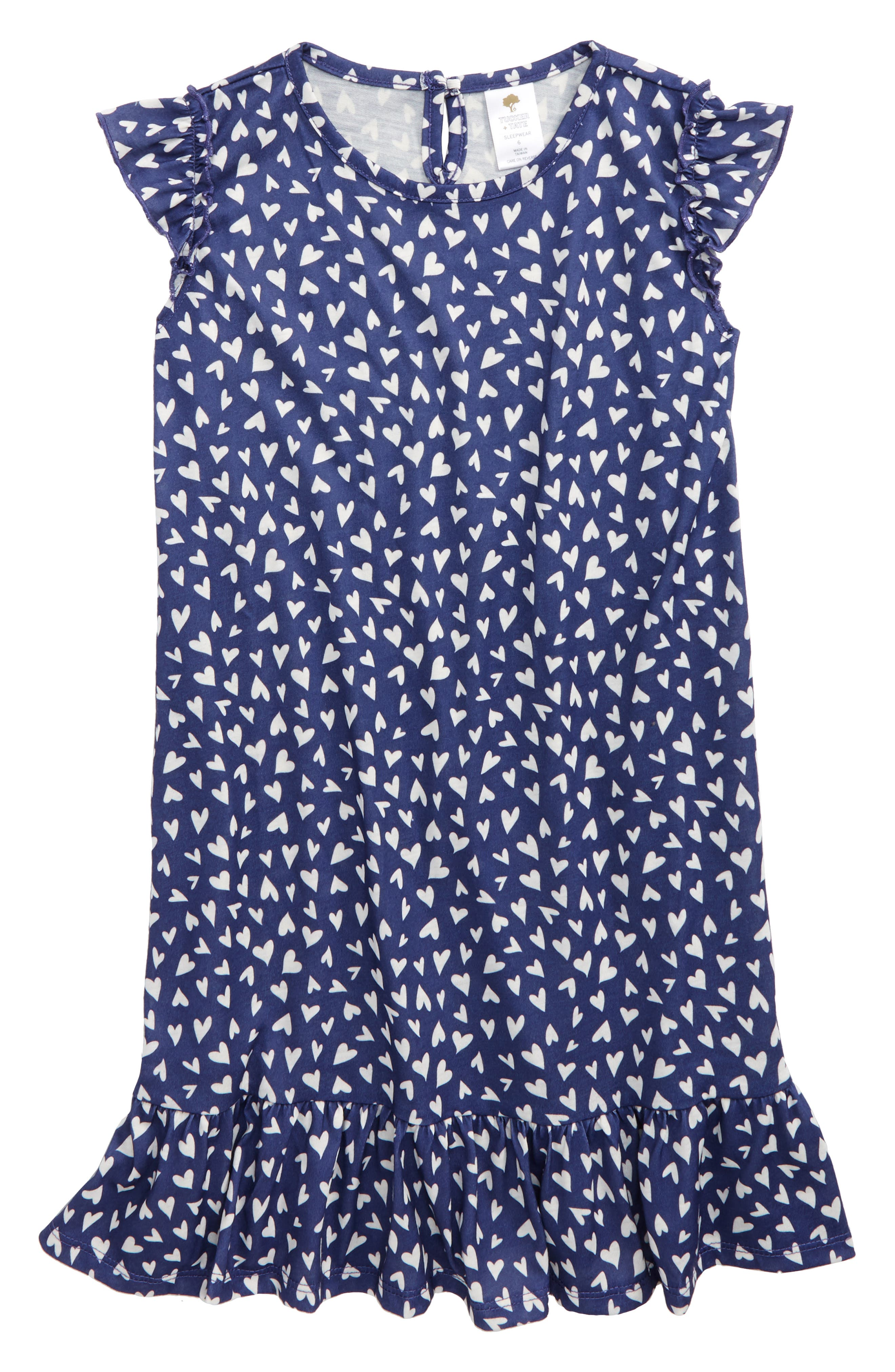 Ruffle Nightgown,                         Main,                         color, Navy Skipper Tossed Hearts