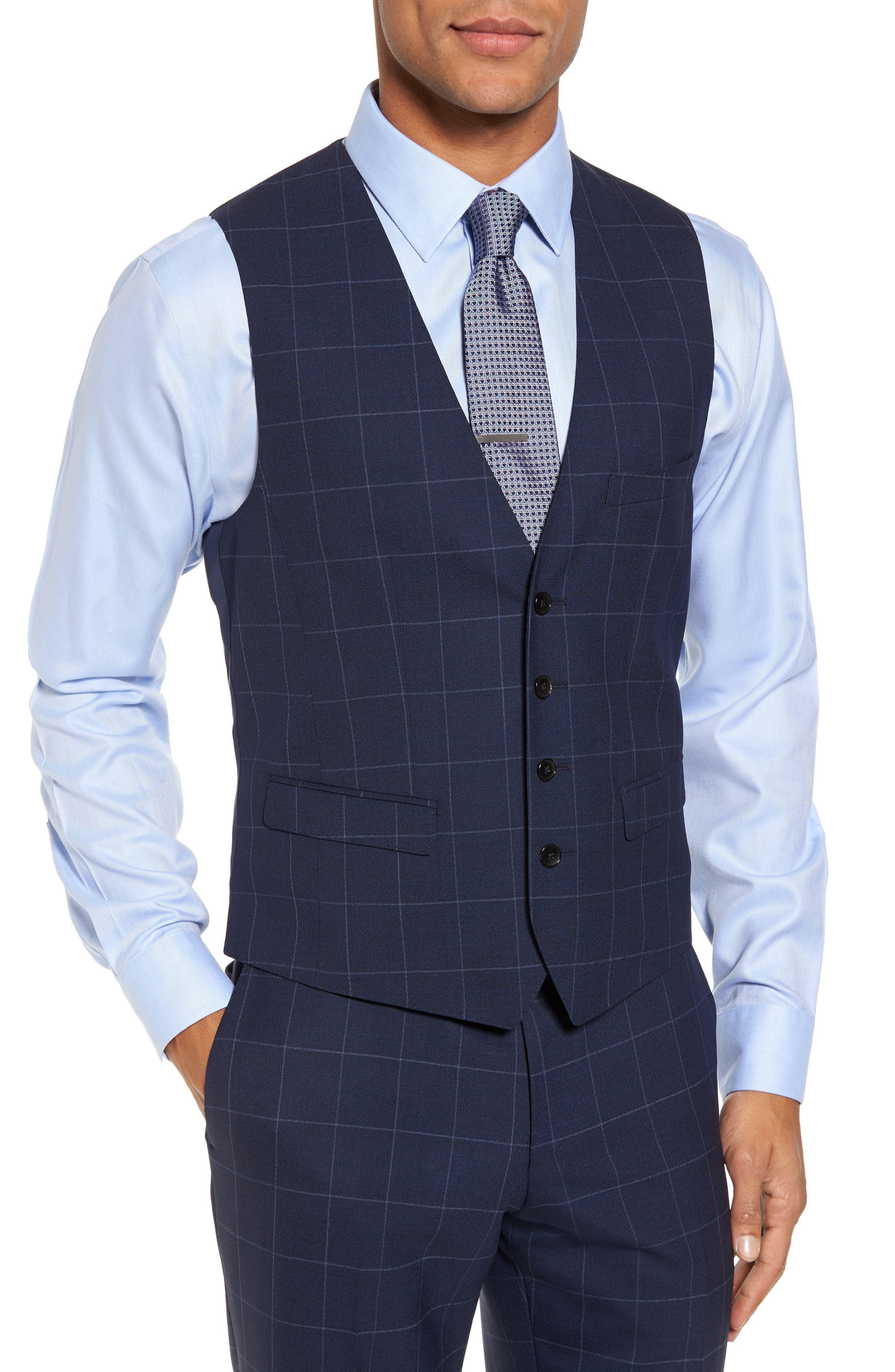 Huge/Genius Trim Fit Three Piece Windowpane Wool Suit,                             Alternate thumbnail 6, color,                             Navy