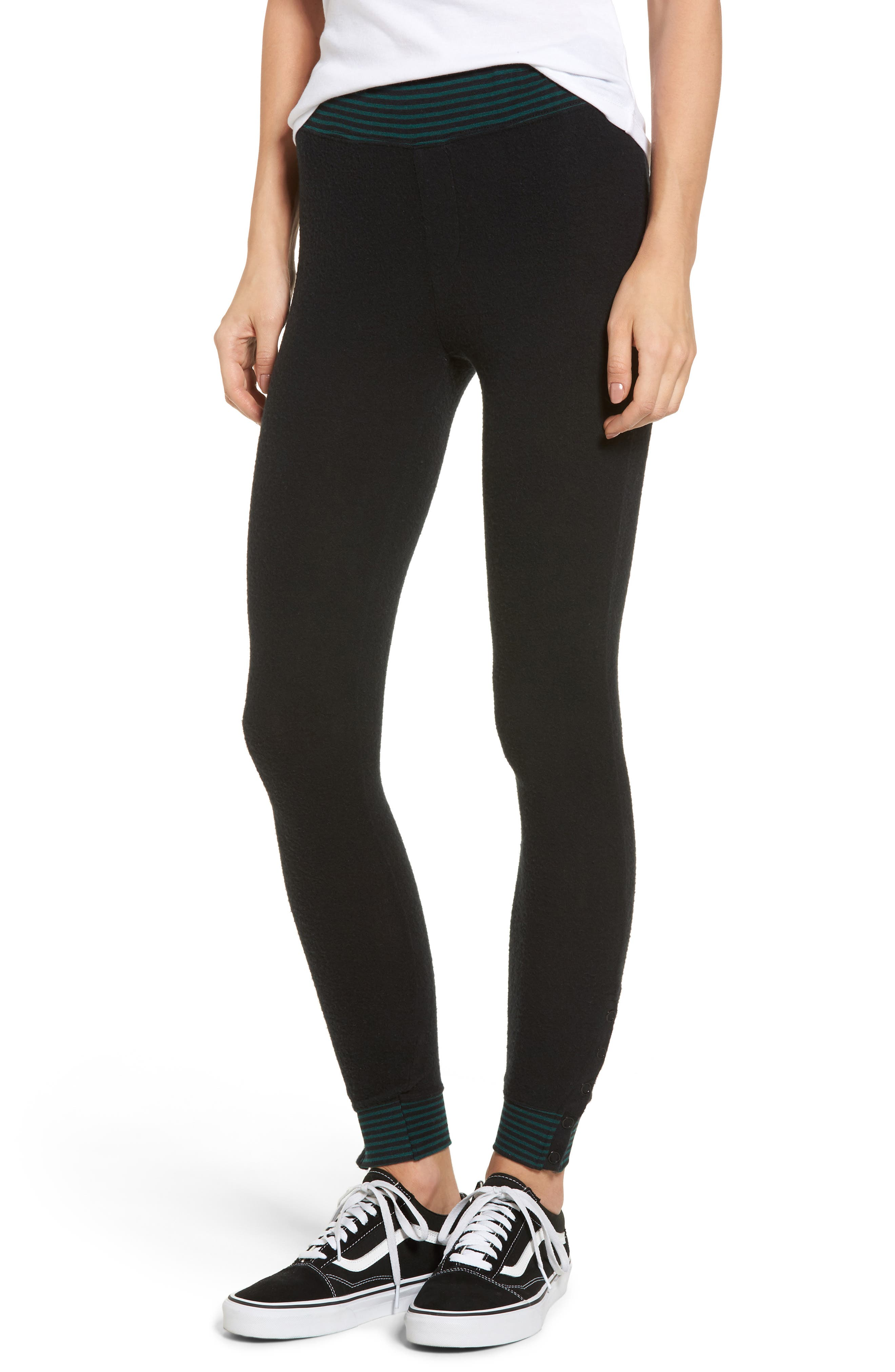 'Laid Back' Ankle Snap Leggings,                         Main,                         color, Black/ Green