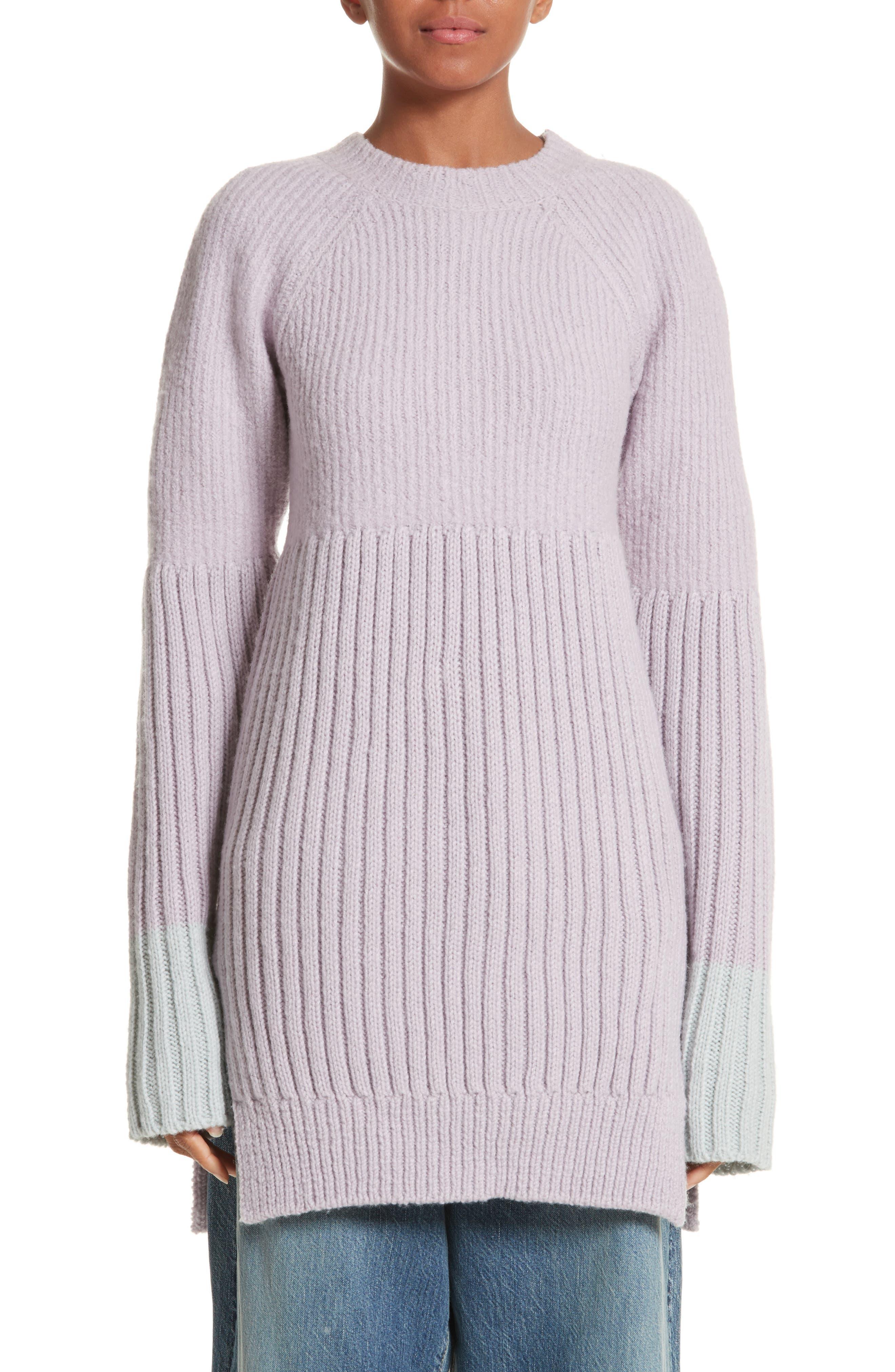Wool Tunic Sweater,                         Main,                         color, Lavendar