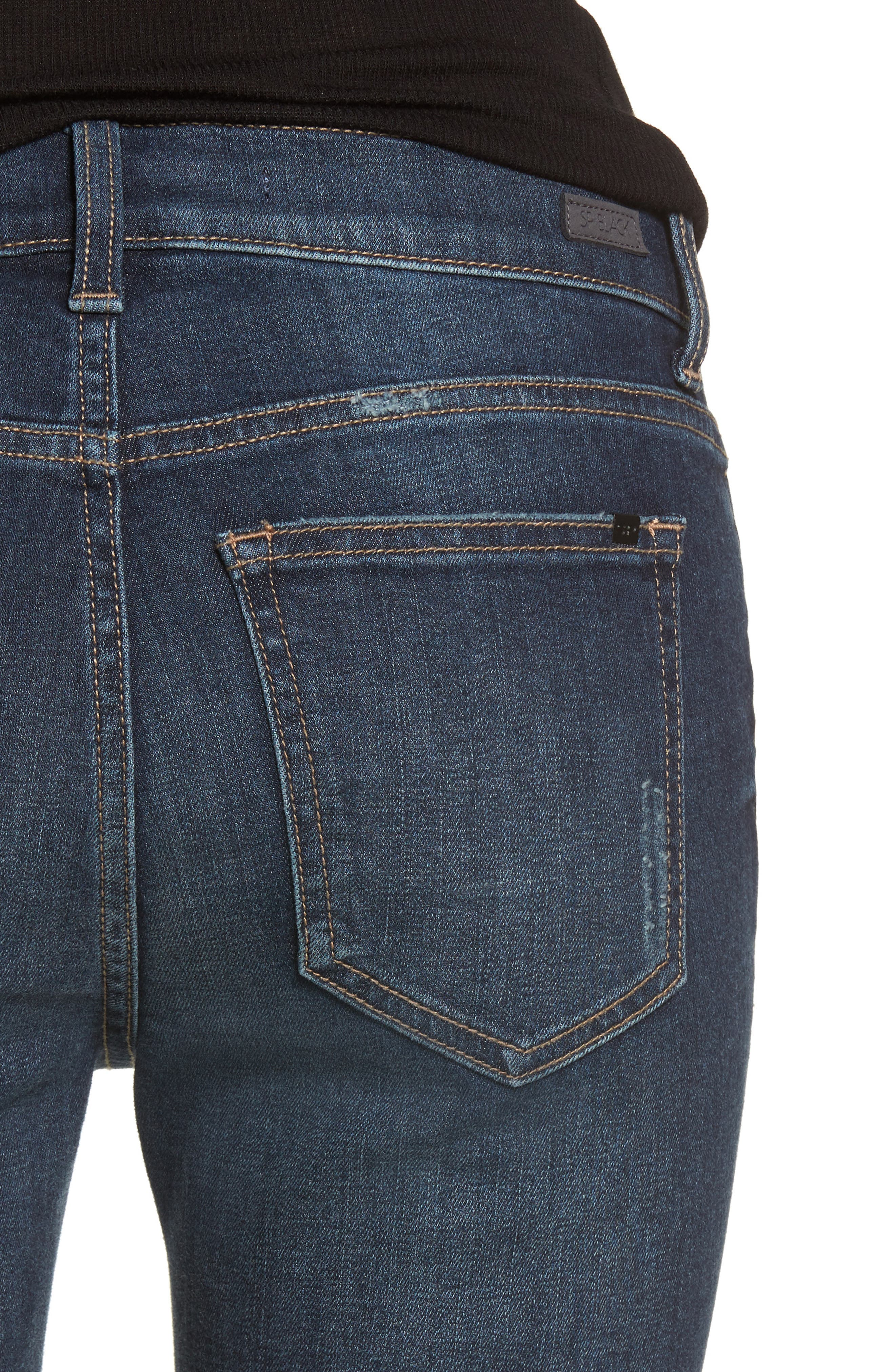 Colorblock Hem Skinny Jeans,                             Alternate thumbnail 4, color,                             Dark Wash