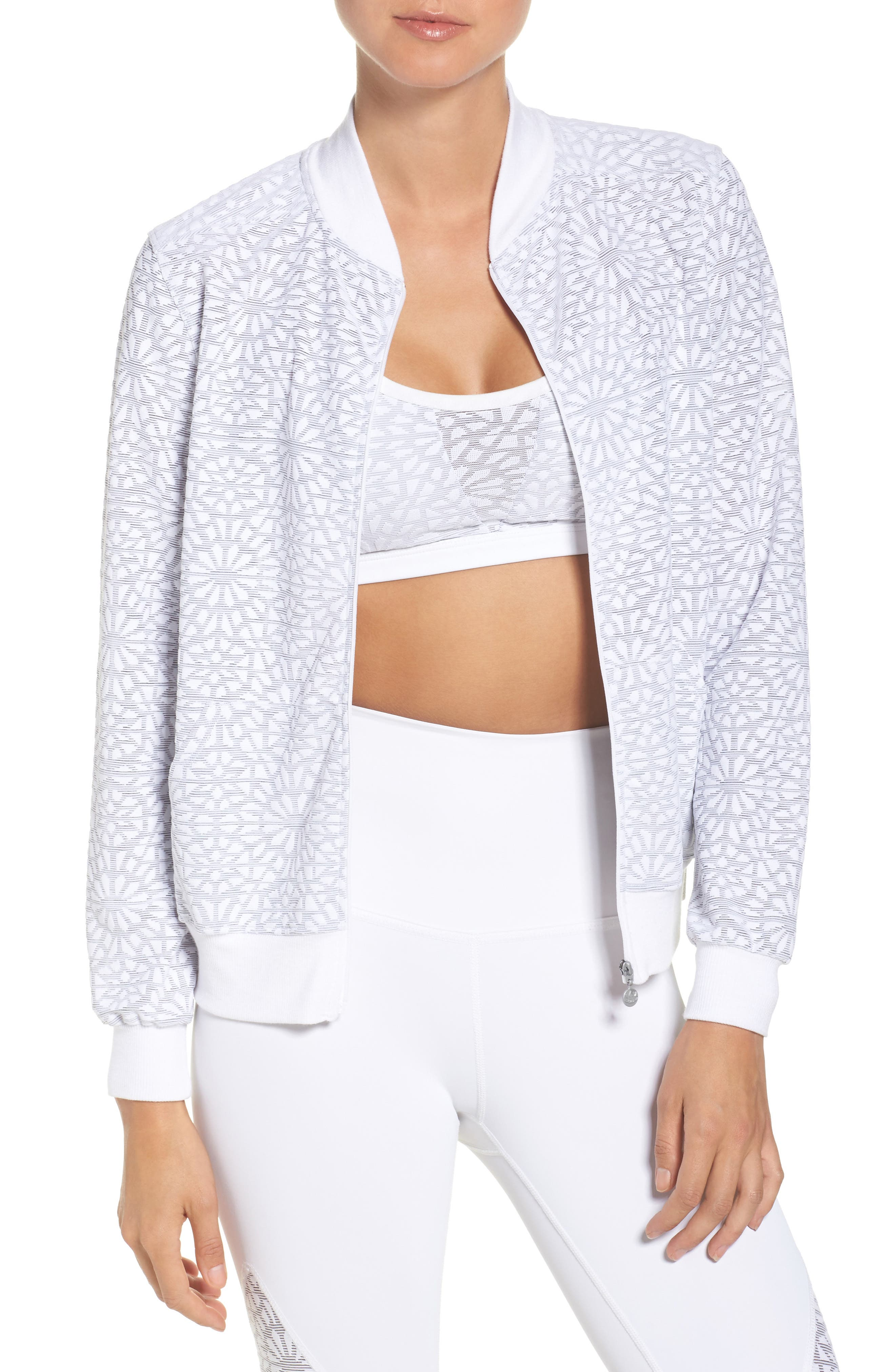Beyond Yoga Cut it Close Mesh Bomber Jacket