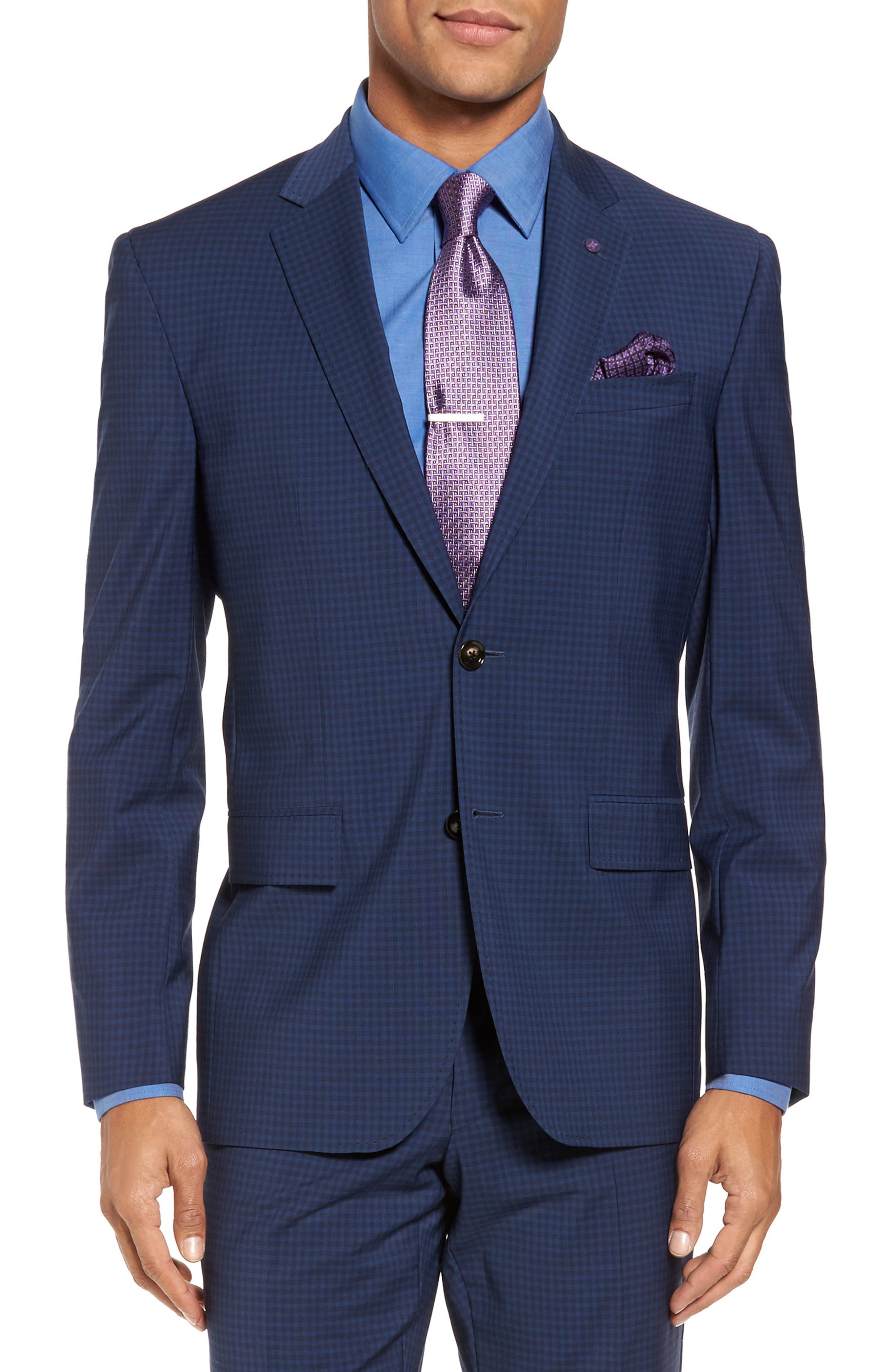 Jay Trim Fit Stretch Wool Suit,                             Alternate thumbnail 5, color,                             Blue