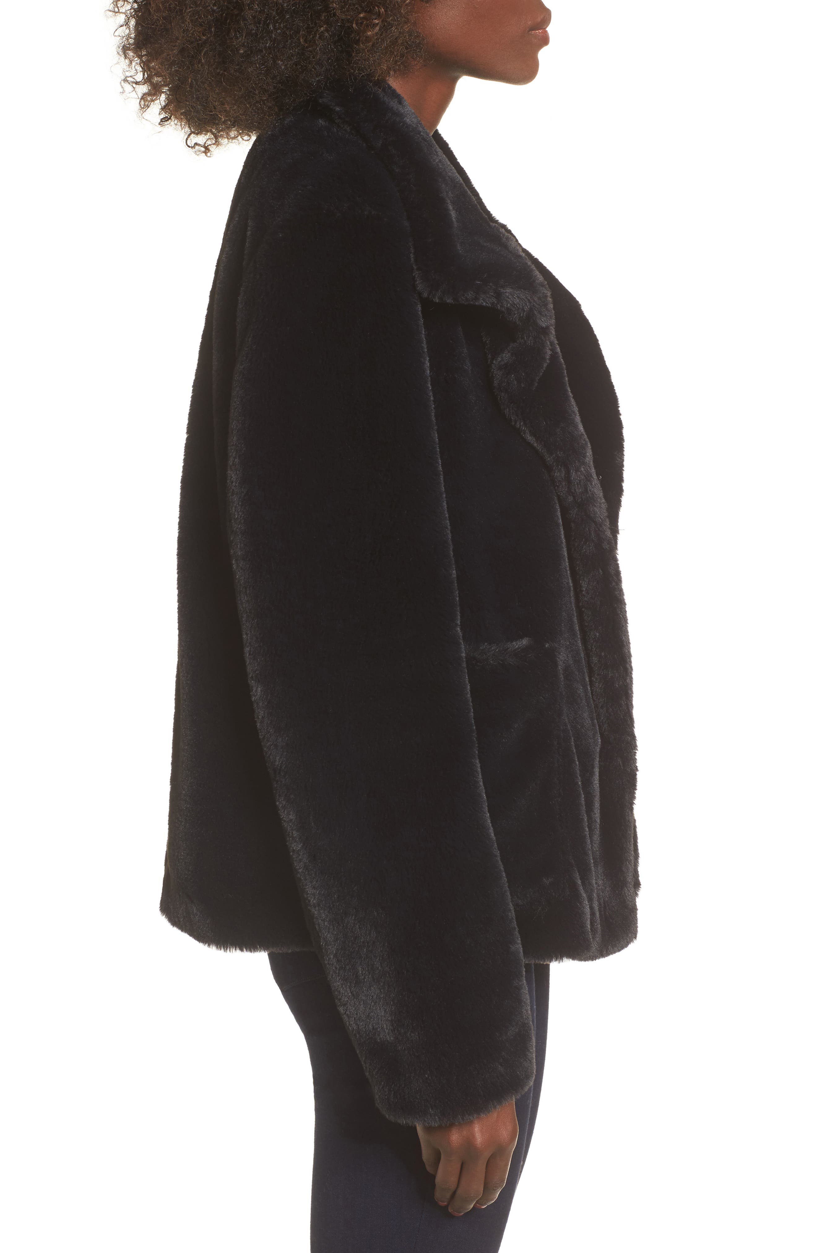 Fur-Fect Faux Fur Jacket,                             Alternate thumbnail 3, color,                             Black