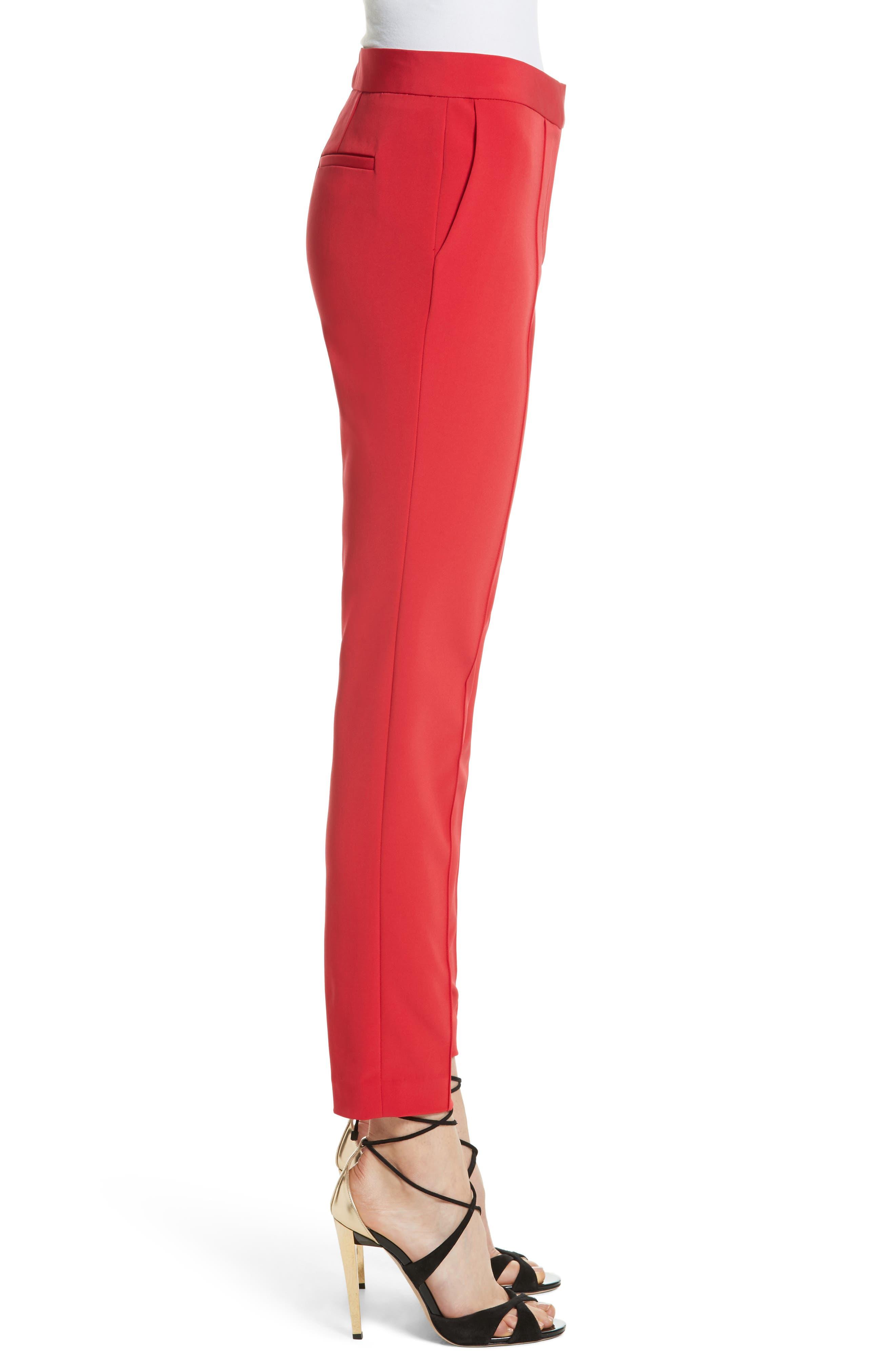 Crop Bi-Stretch Pants,                             Alternate thumbnail 3, color,                             Red