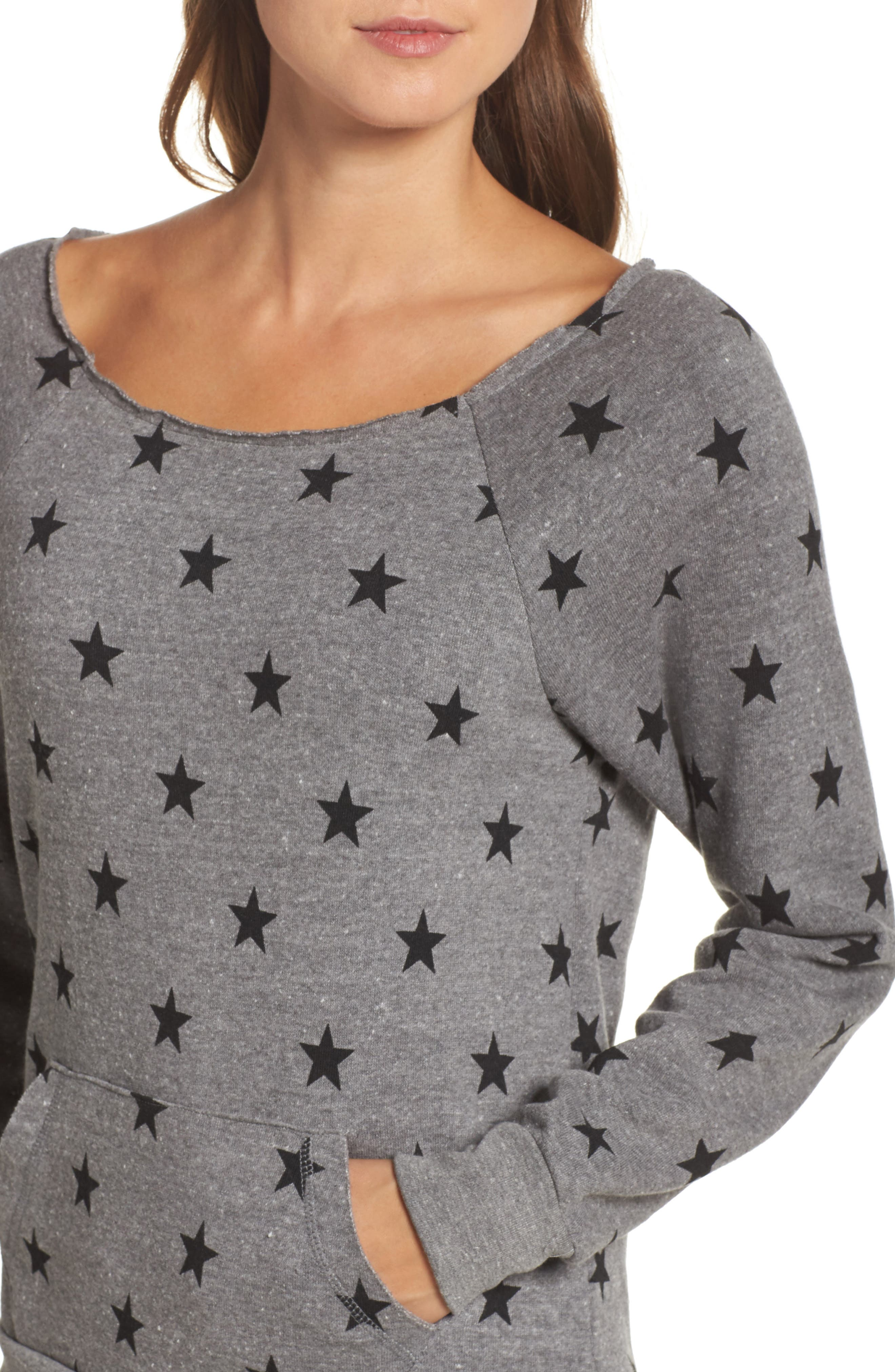 Maniac Camo Fleece Sweatshirt,                             Alternate thumbnail 4, color,                             Eco Grey Stars