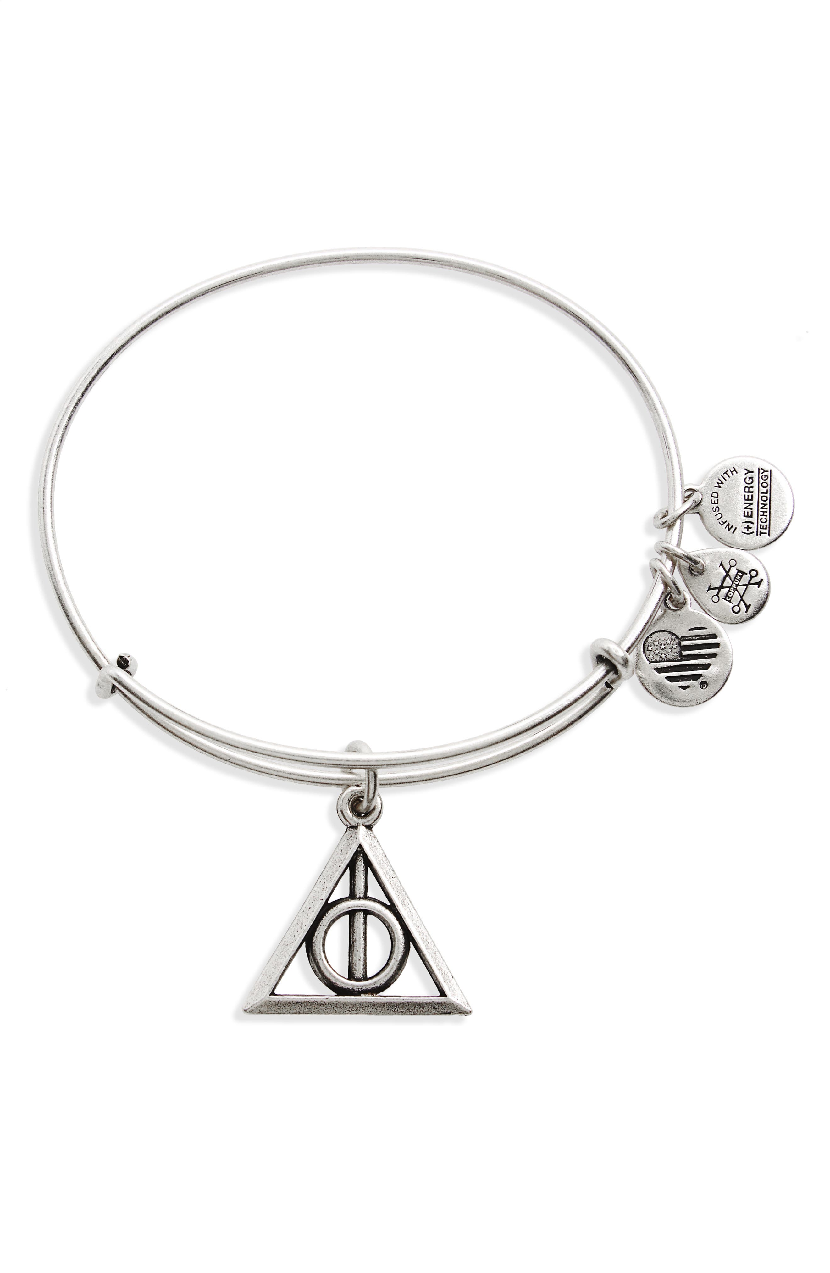 Deathly Hallows<sup>™</sup> Adjustable Wire Bangle,                         Main,                         color, Silver