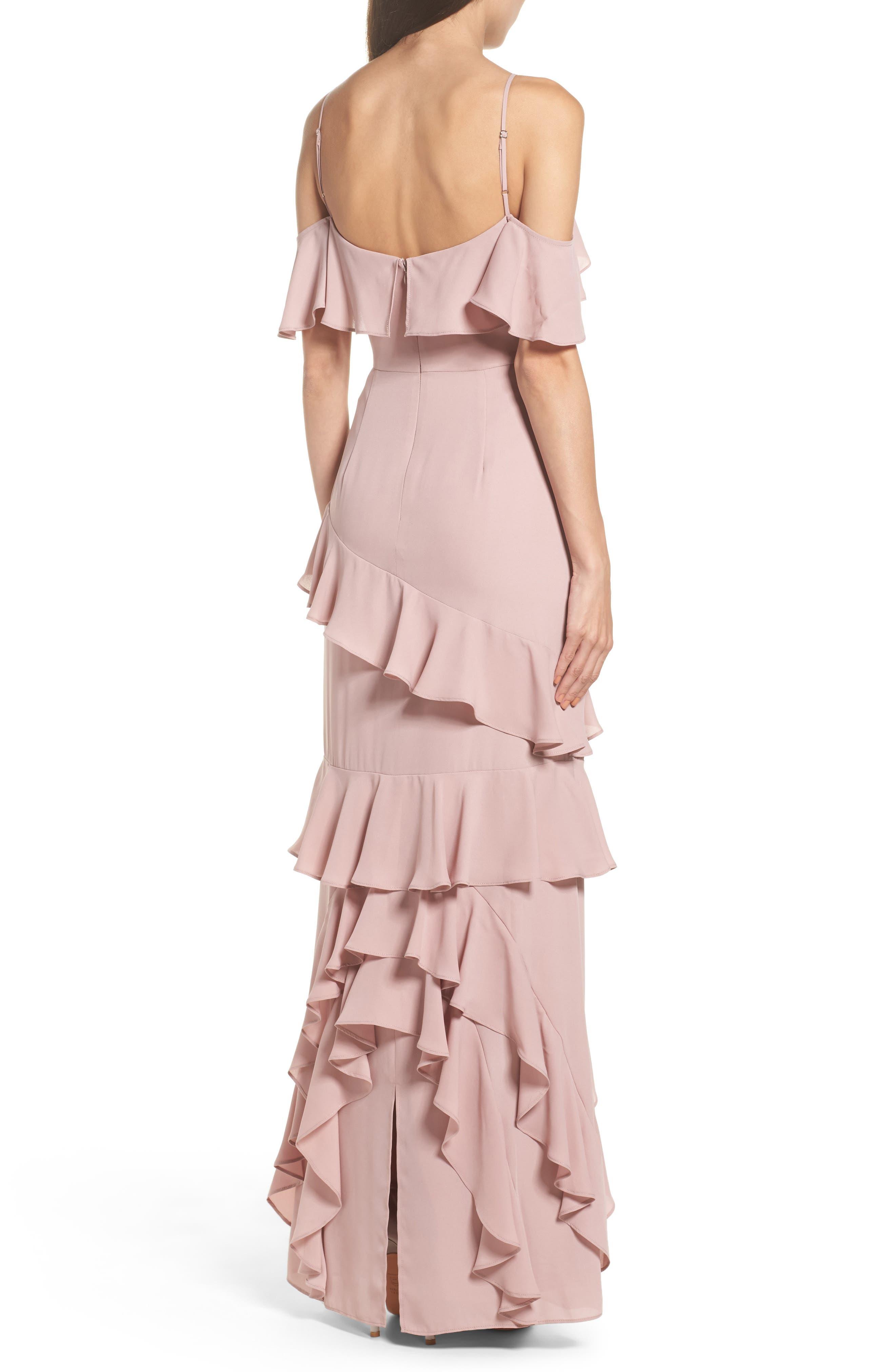 Danielle Off the Shoulder Tiered Crepe Dress,                             Alternate thumbnail 3, color,                             London Fog