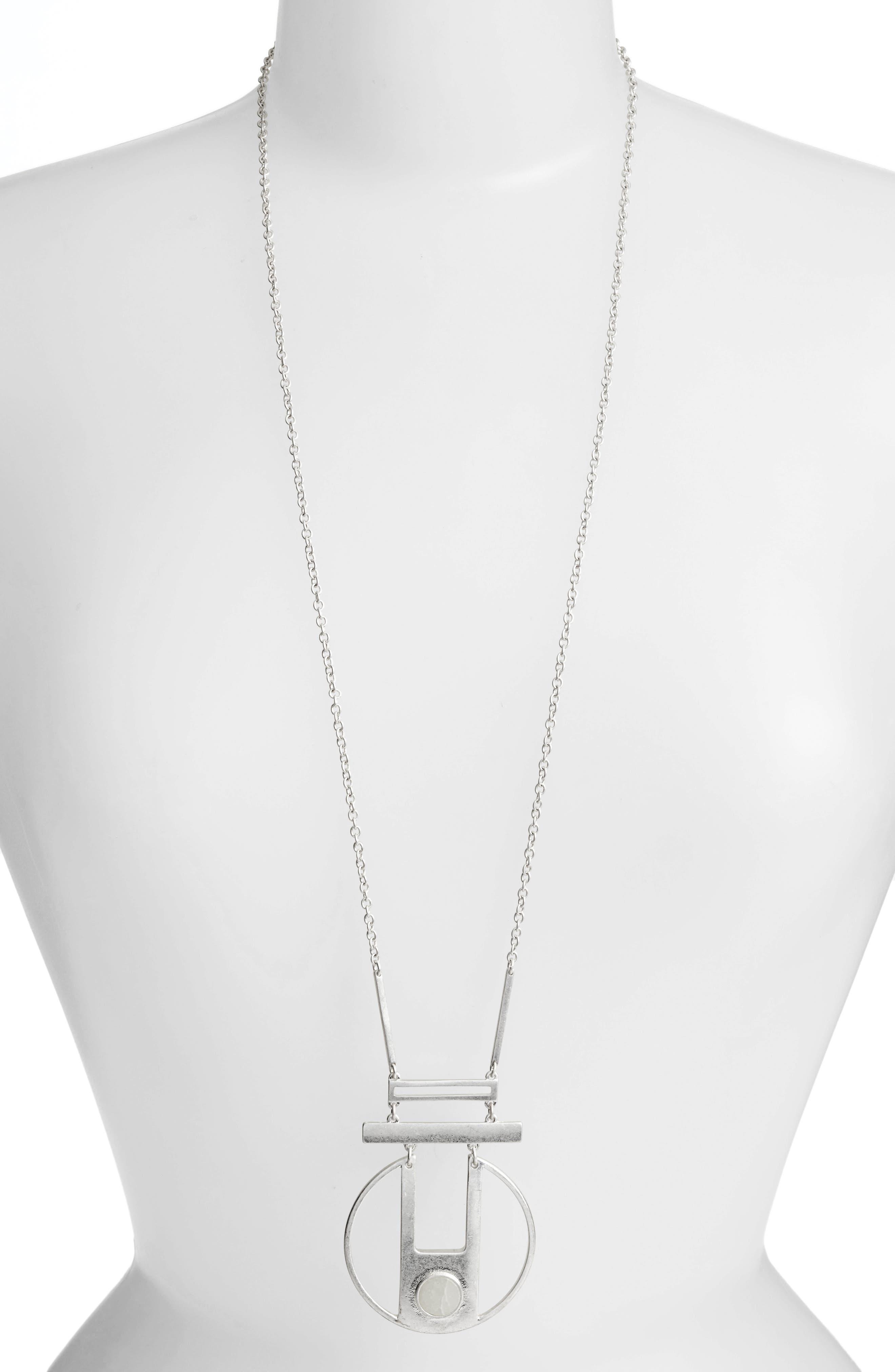 Opal Pendant Necklace,                             Main thumbnail 1, color,                             Silver