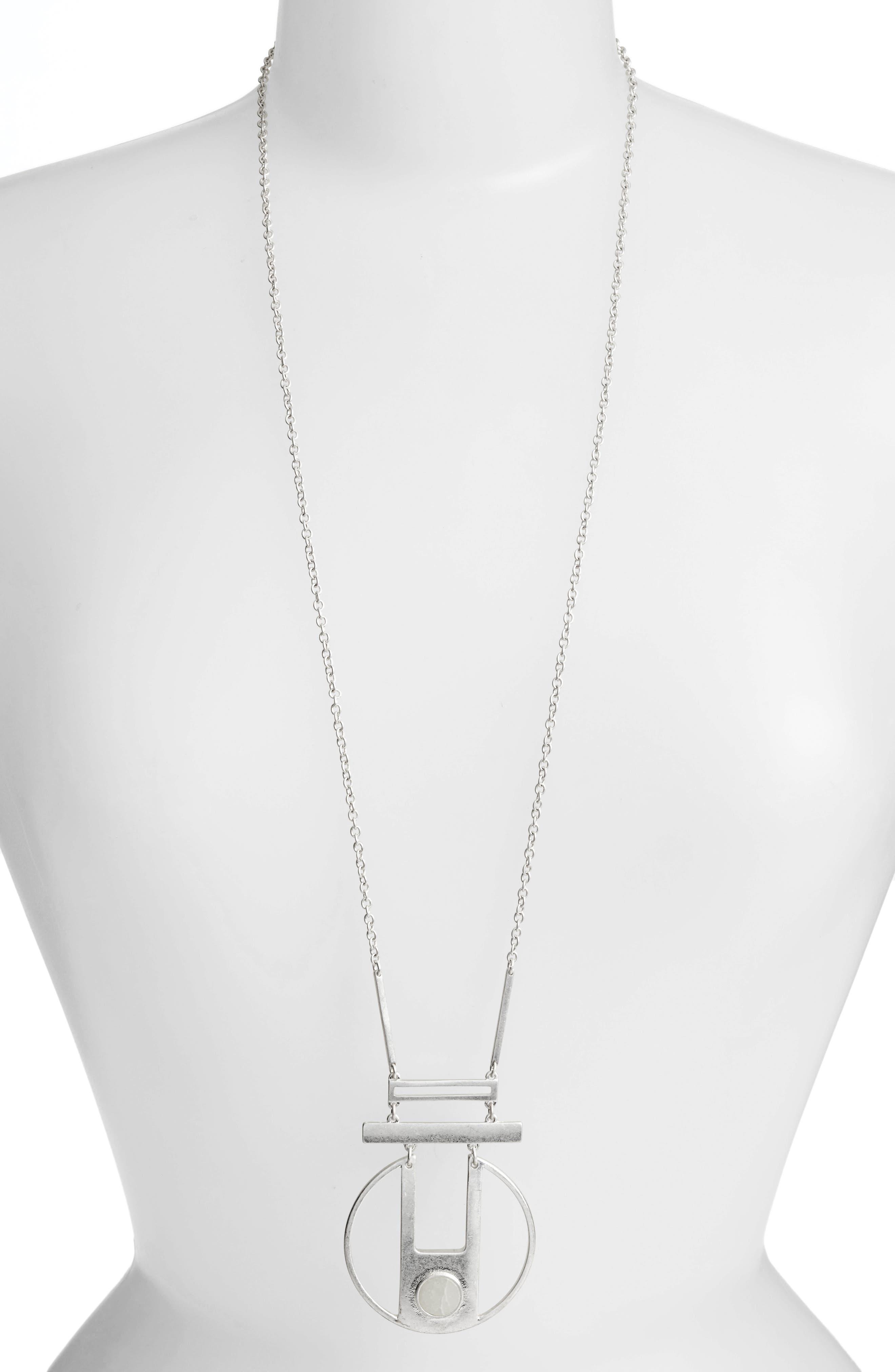 Opal Pendant Necklace,                         Main,                         color, Silver