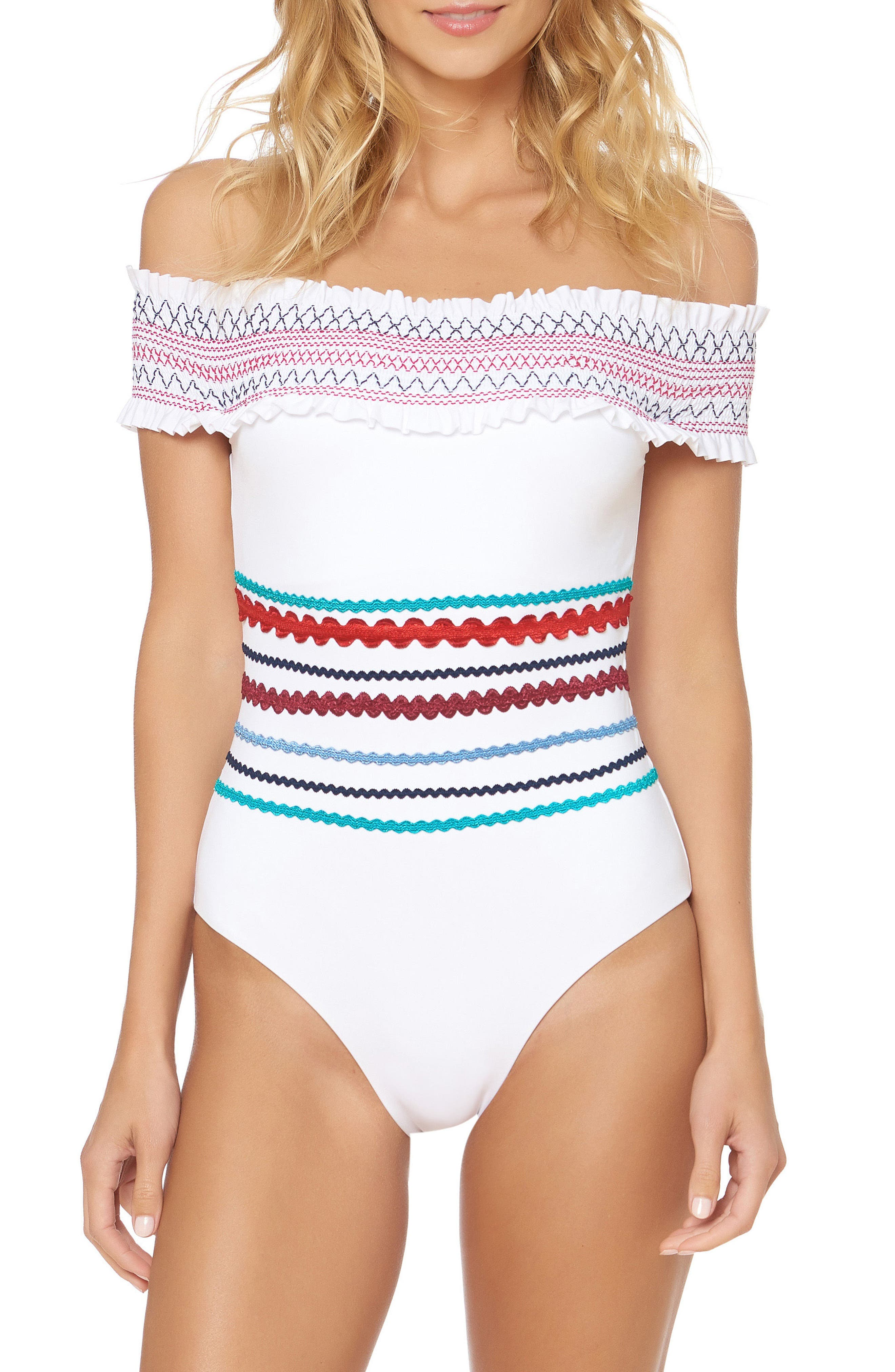 Smocked Off the Shoulder Swimsuit,                             Main thumbnail 1, color,                             White