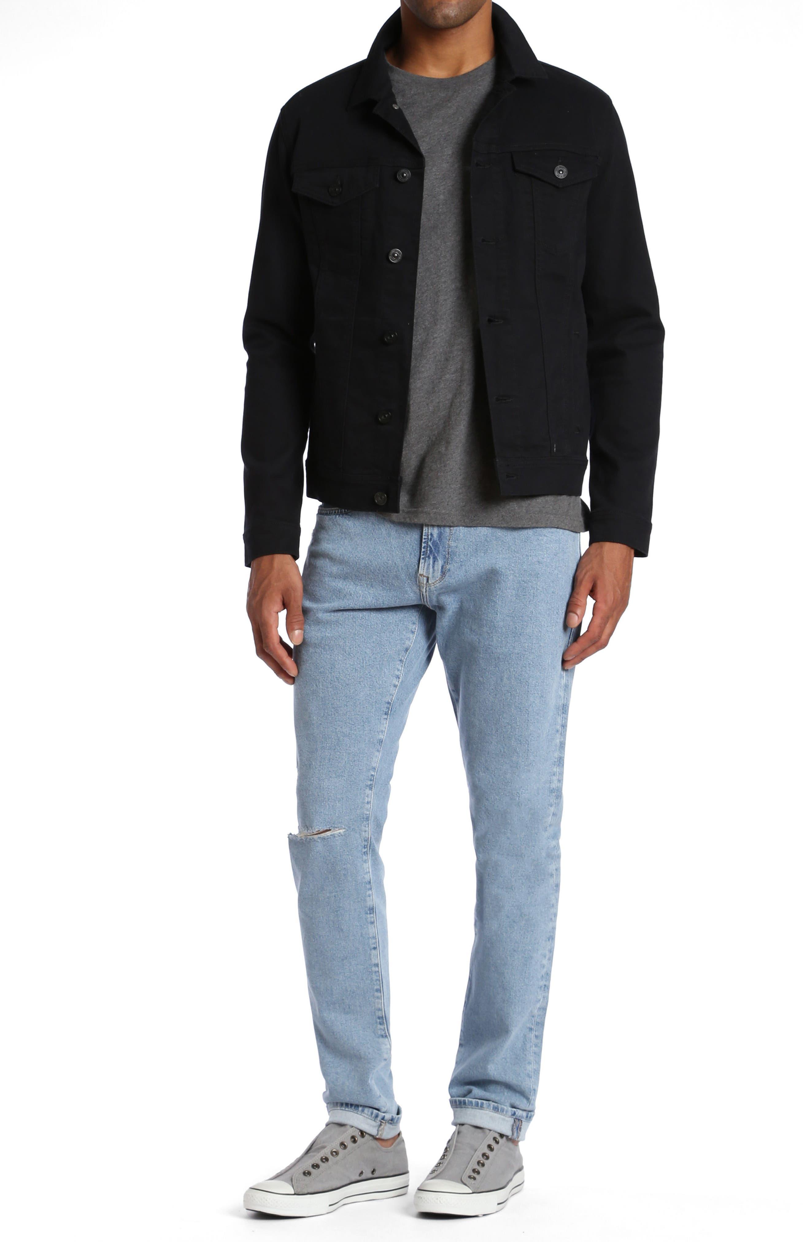 Frank Denim Jacket,                             Alternate thumbnail 4, color,                             Black Comfort