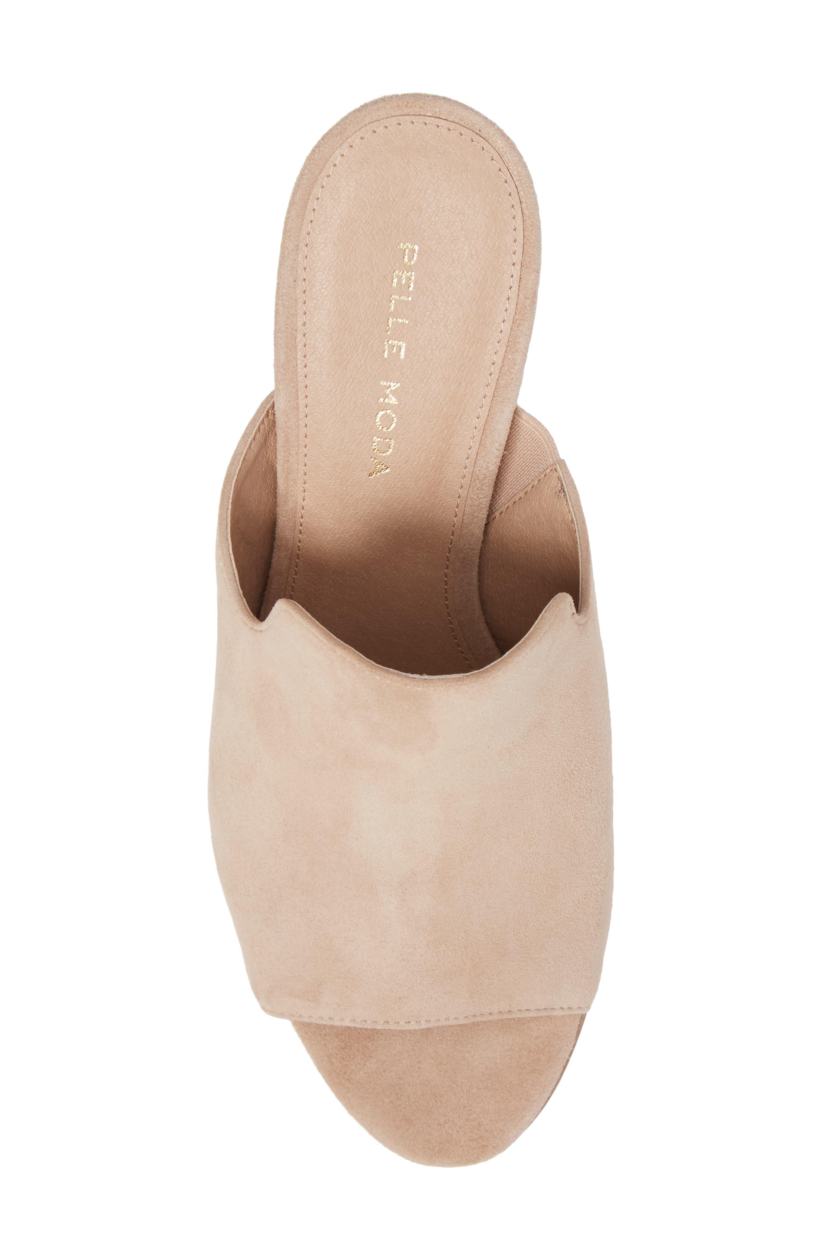 Blair Peep Toe Mule,                             Alternate thumbnail 5, color,                             Sand Leather