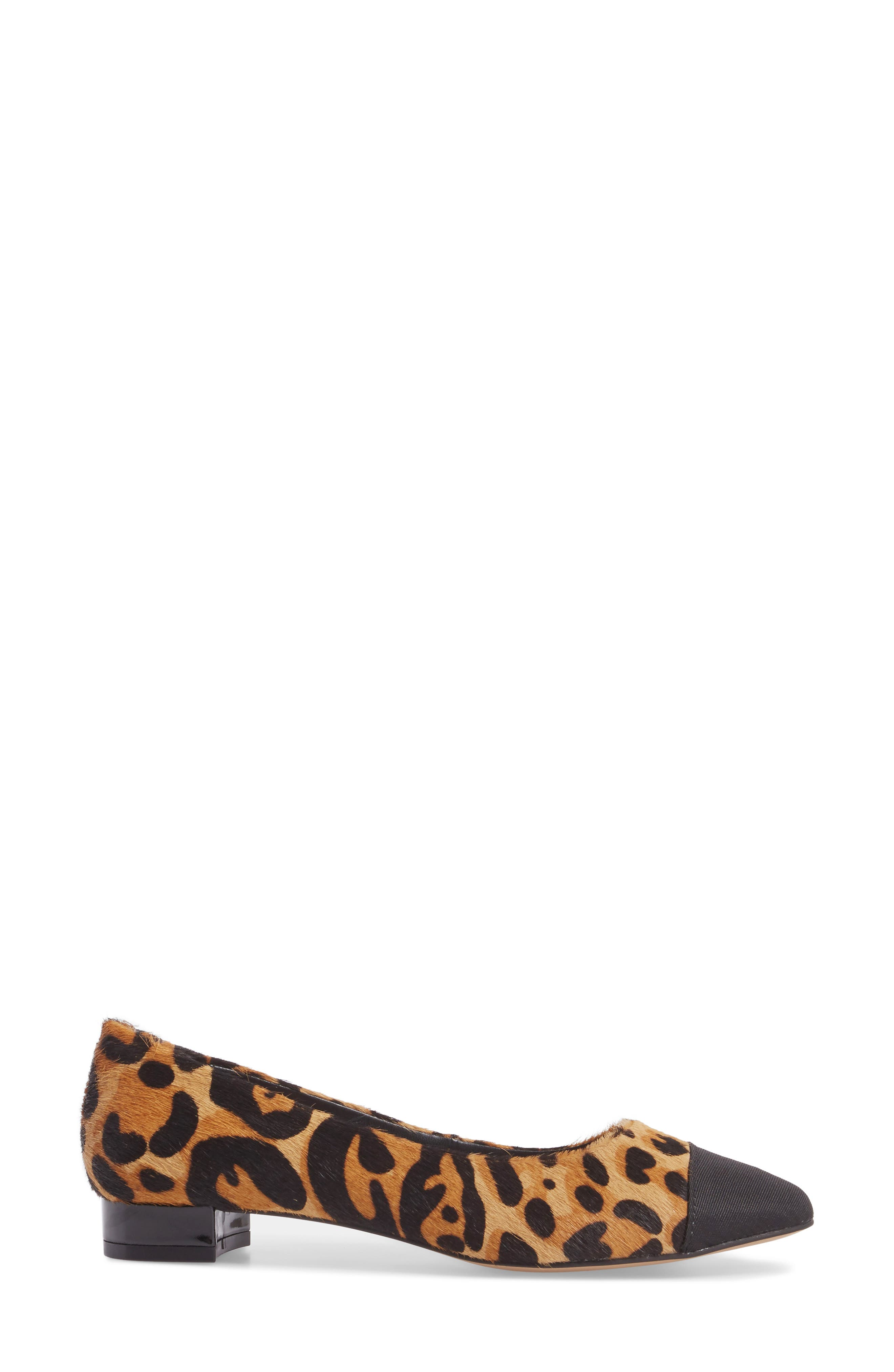 Brea Flat,                             Alternate thumbnail 3, color,                             Leopard Calf Hair