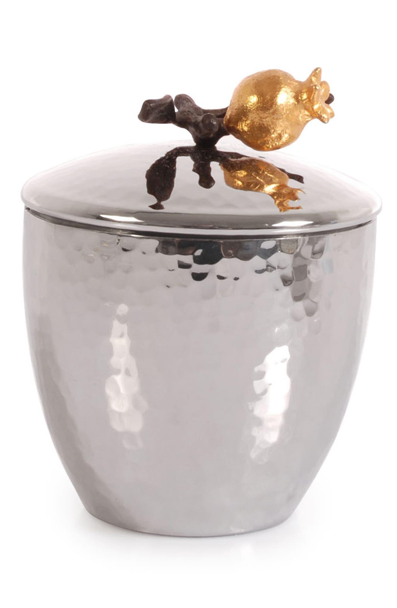 Pomegranate Sugar Bowl & Spoon,                         Main,                         color, Silver/ Gold/ Black