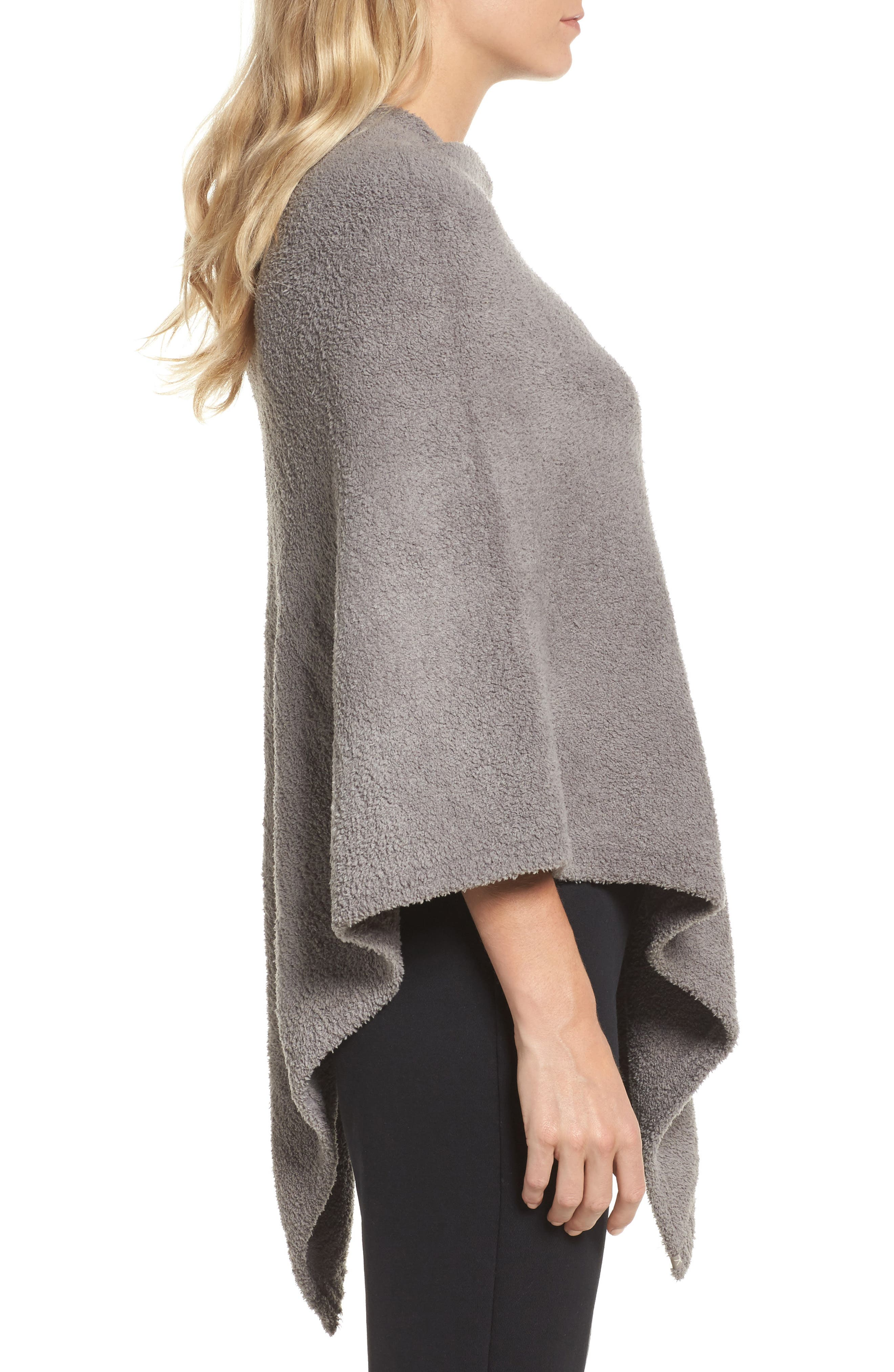 Boatneck CozyChic<sup>®</sup> Poncho,                             Alternate thumbnail 3, color,                             Warm Grey